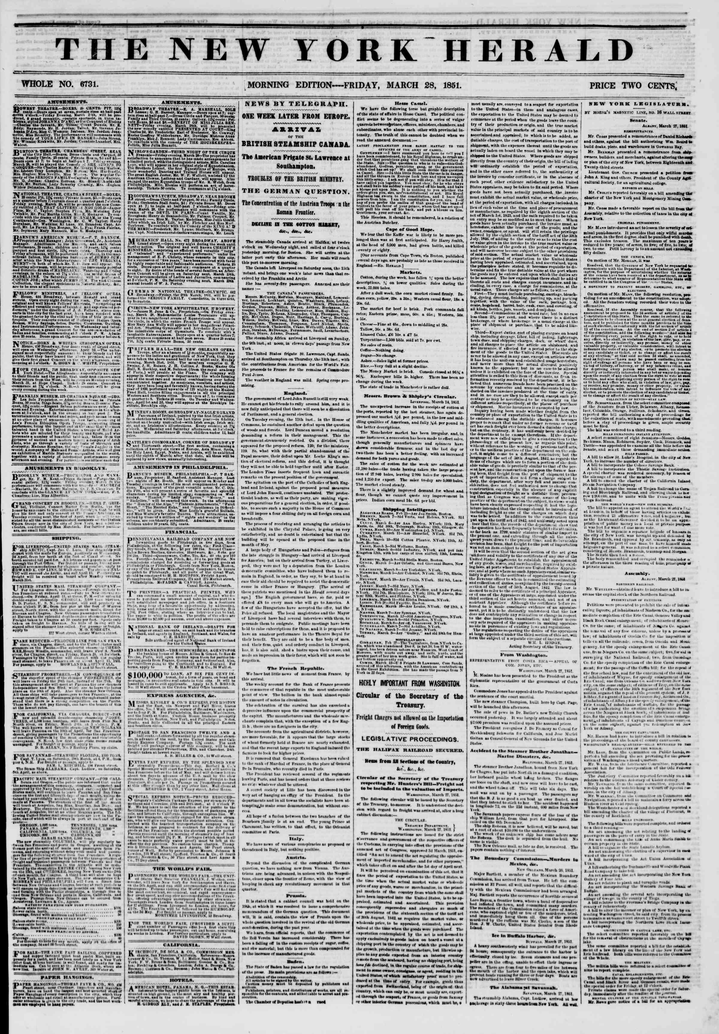 Newspaper of The New York Herald dated March 28, 1851 Page 1
