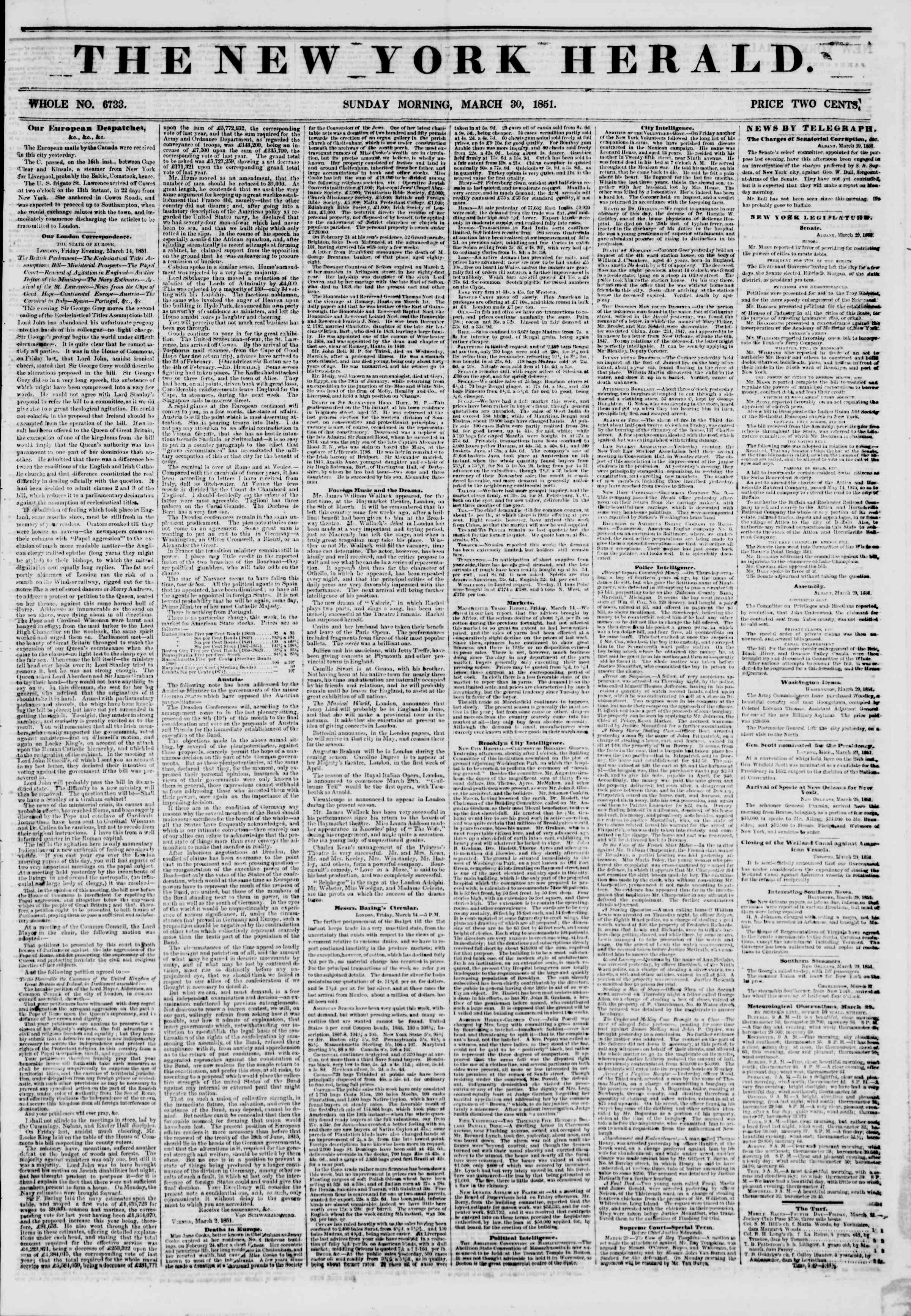 Newspaper of The New York Herald dated March 30, 1851 Page 1
