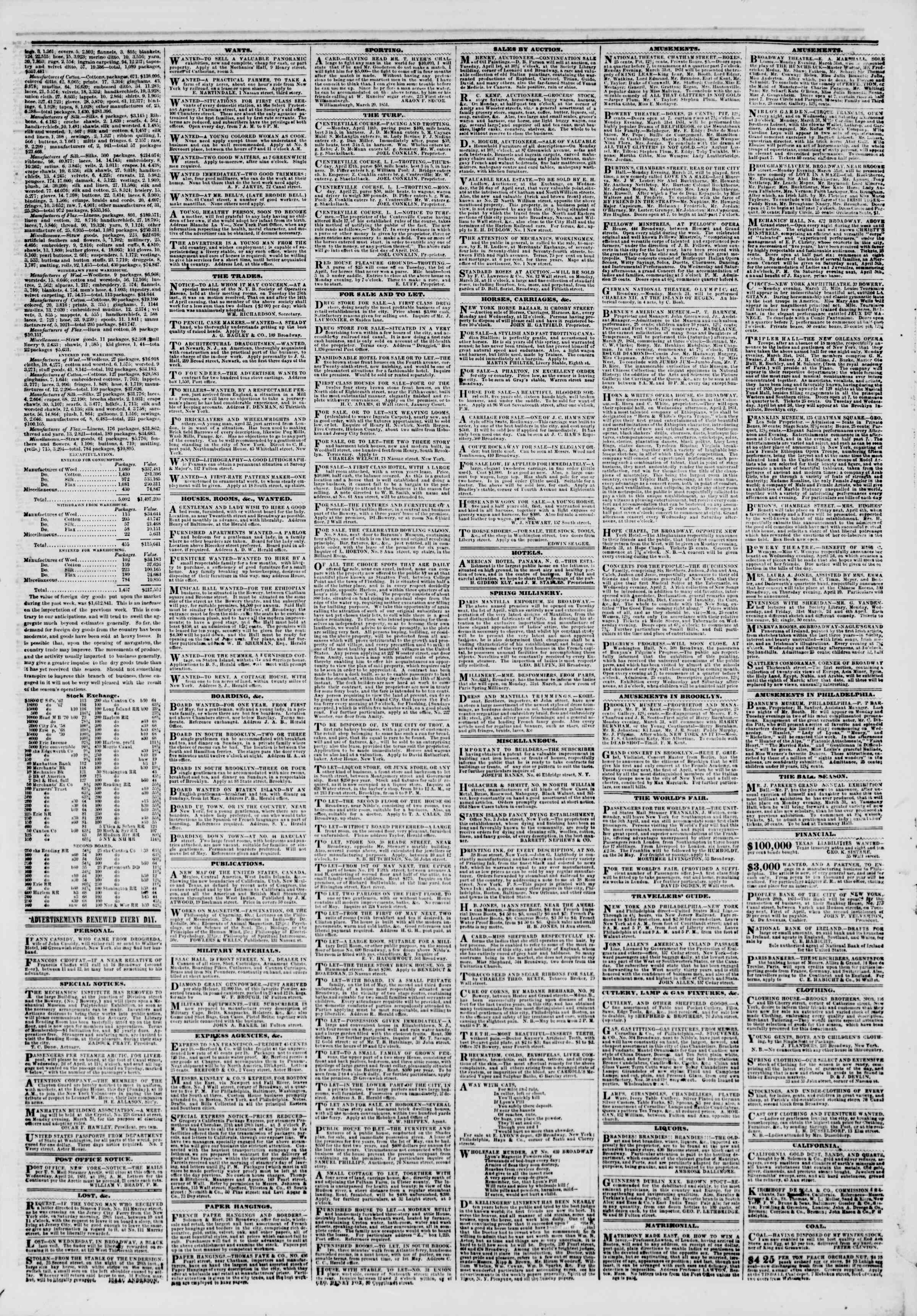 Newspaper of The New York Herald dated March 30, 1851 Page 3