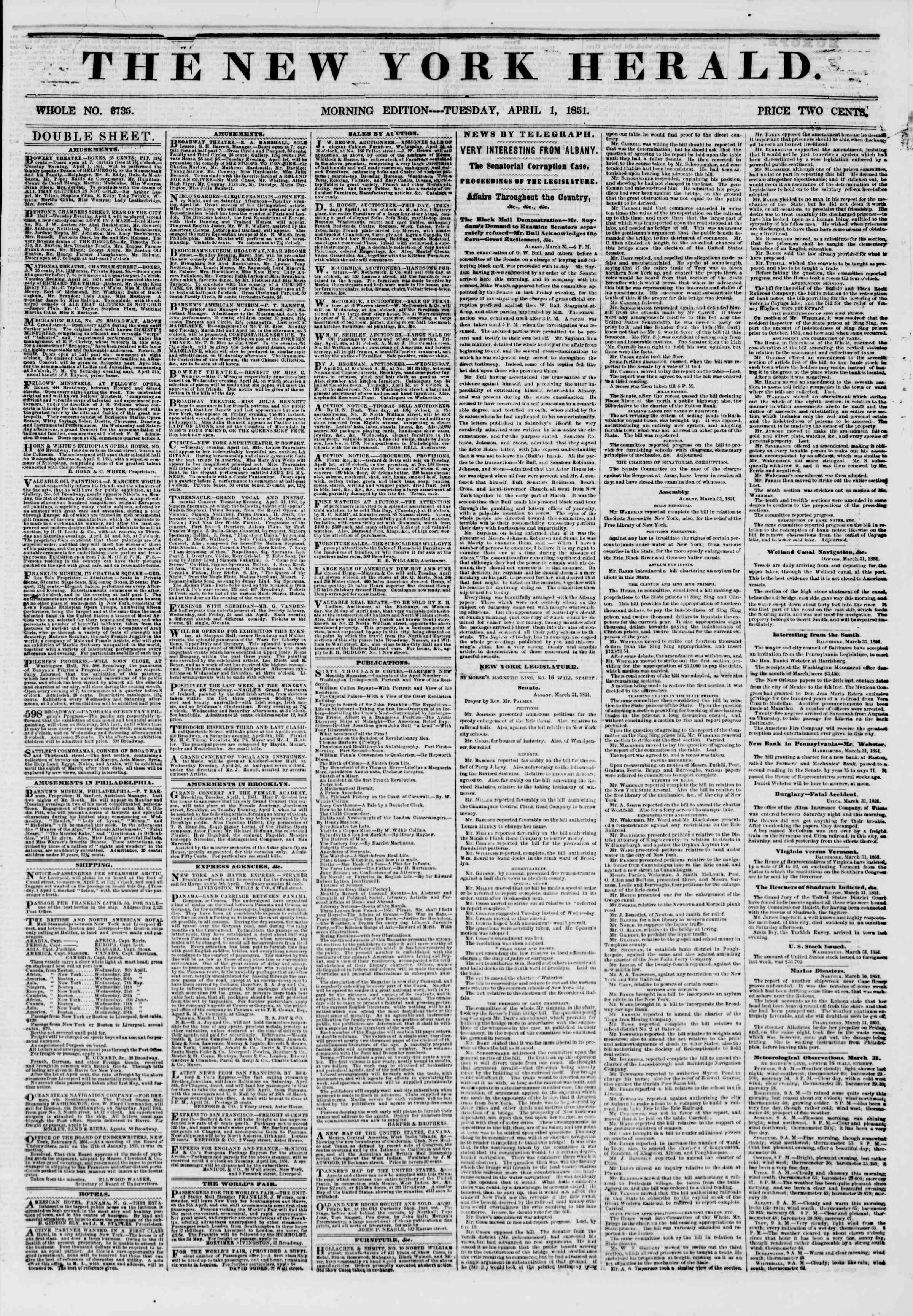 Newspaper of The New York Herald dated April 1, 1851 Page 1