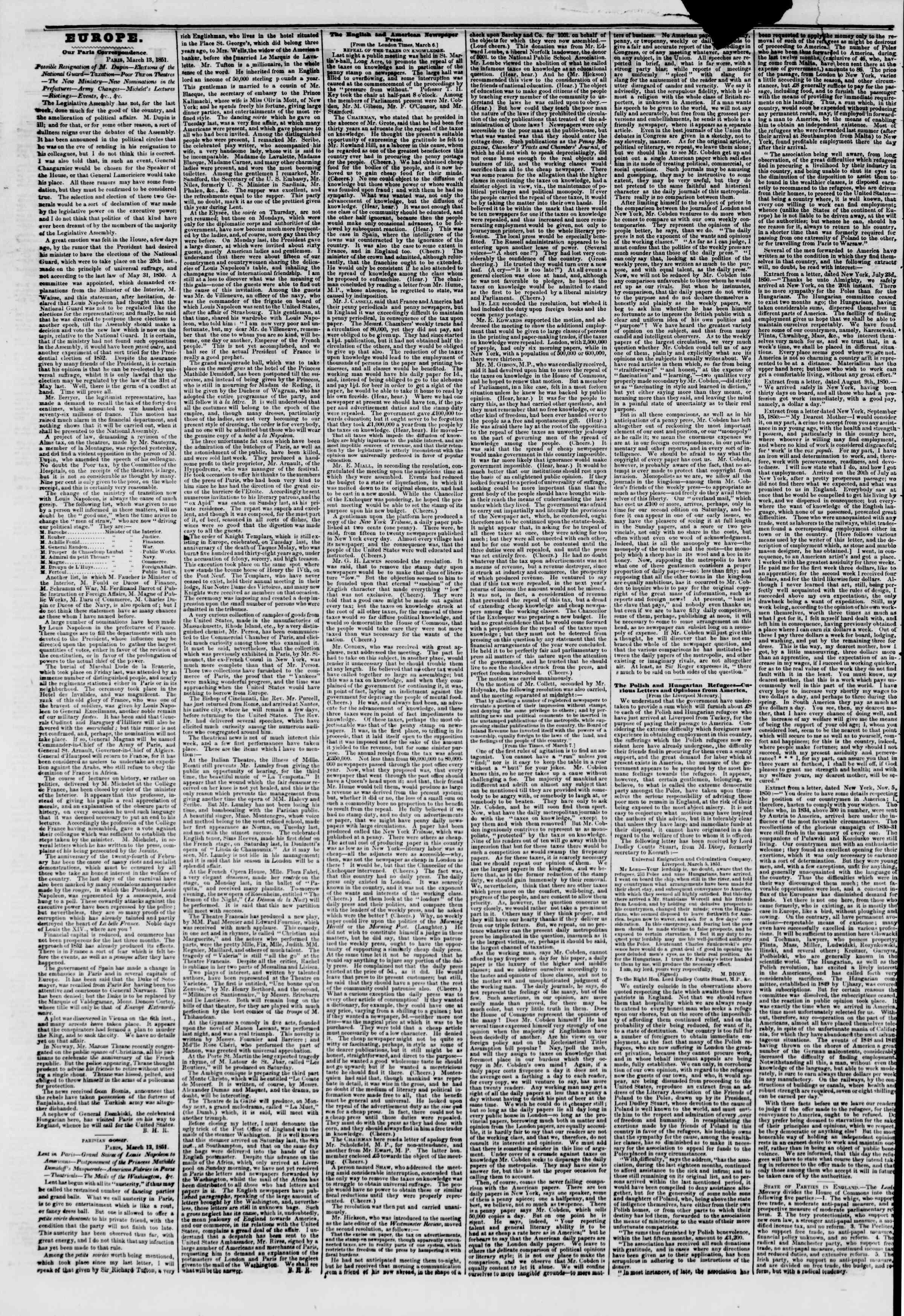 1 Nisan 1851 tarihli The New York Herald Gazetesi Sayfa 2