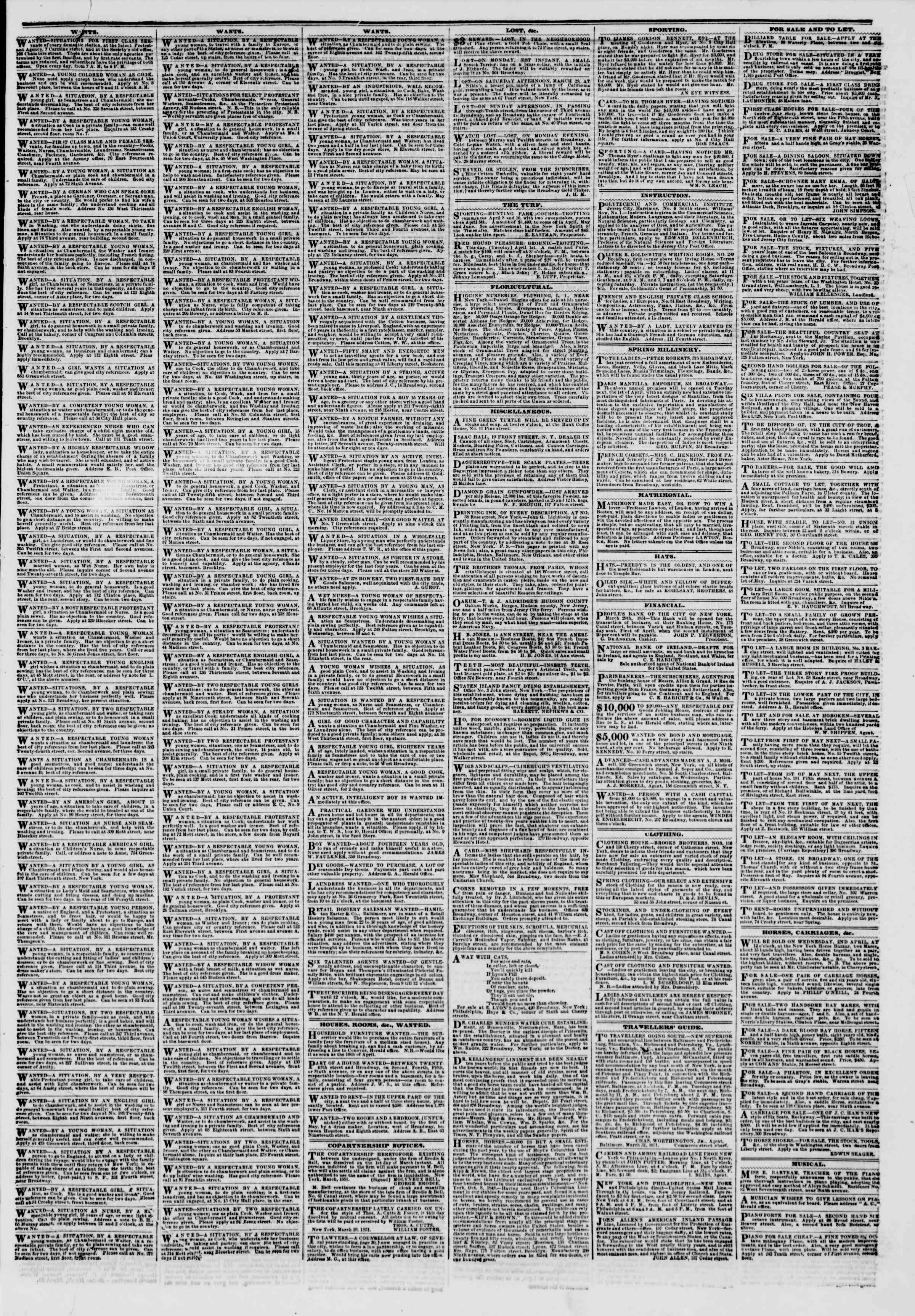 Newspaper of The New York Herald dated April 1, 1851 Page 5