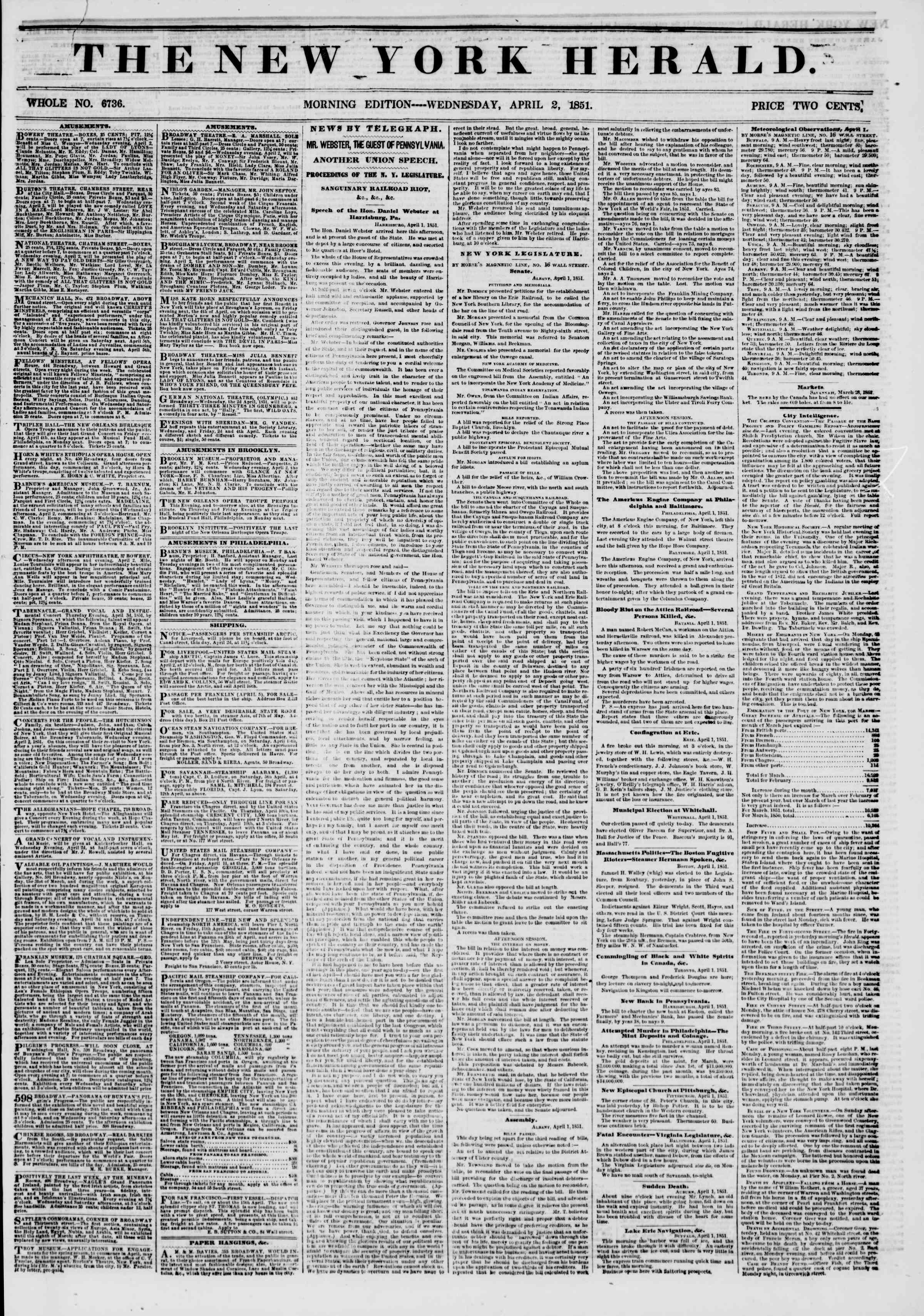 Newspaper of The New York Herald dated April 2, 1851 Page 1