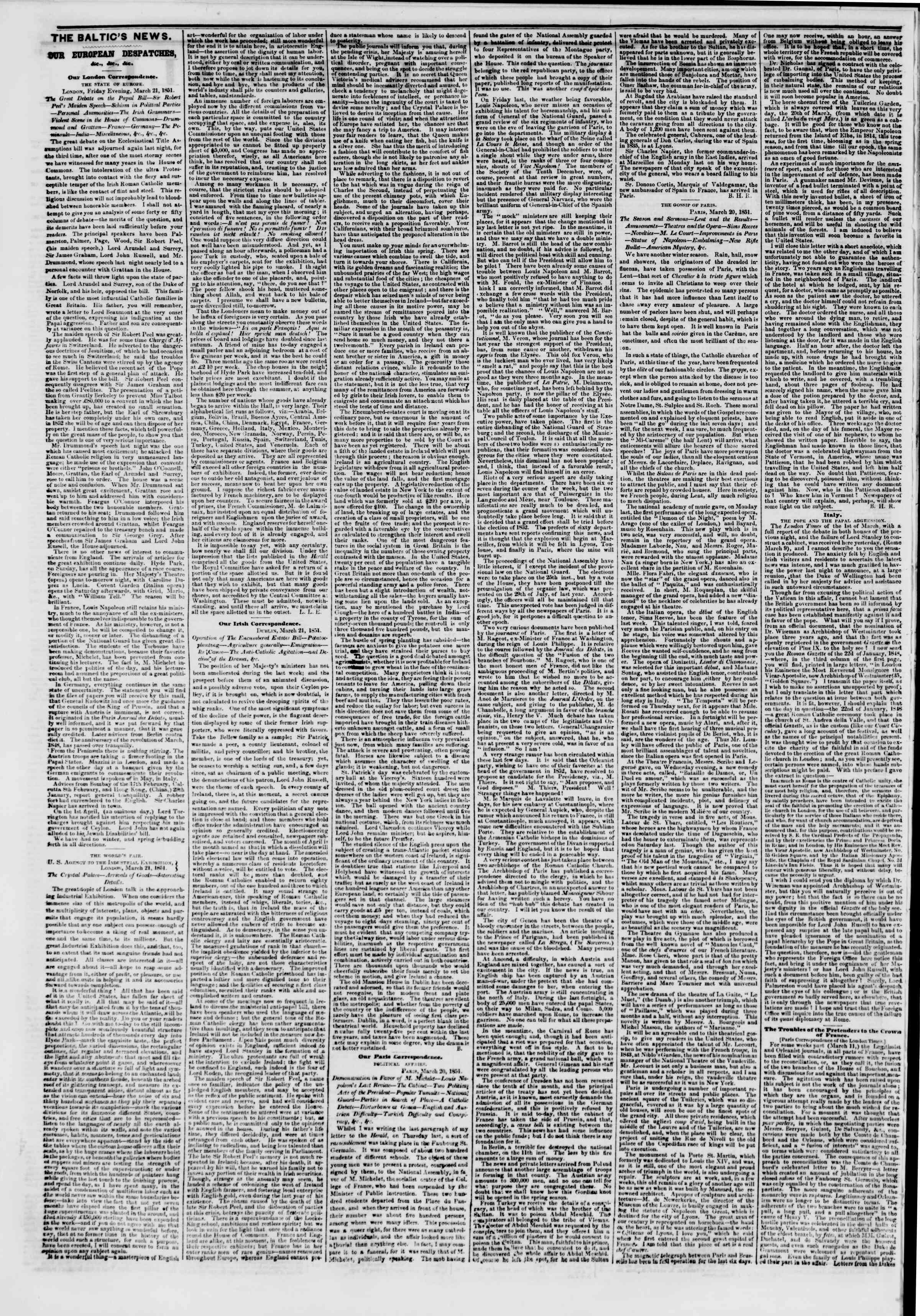 Newspaper of The New York Herald dated April 5, 1851 Page 2
