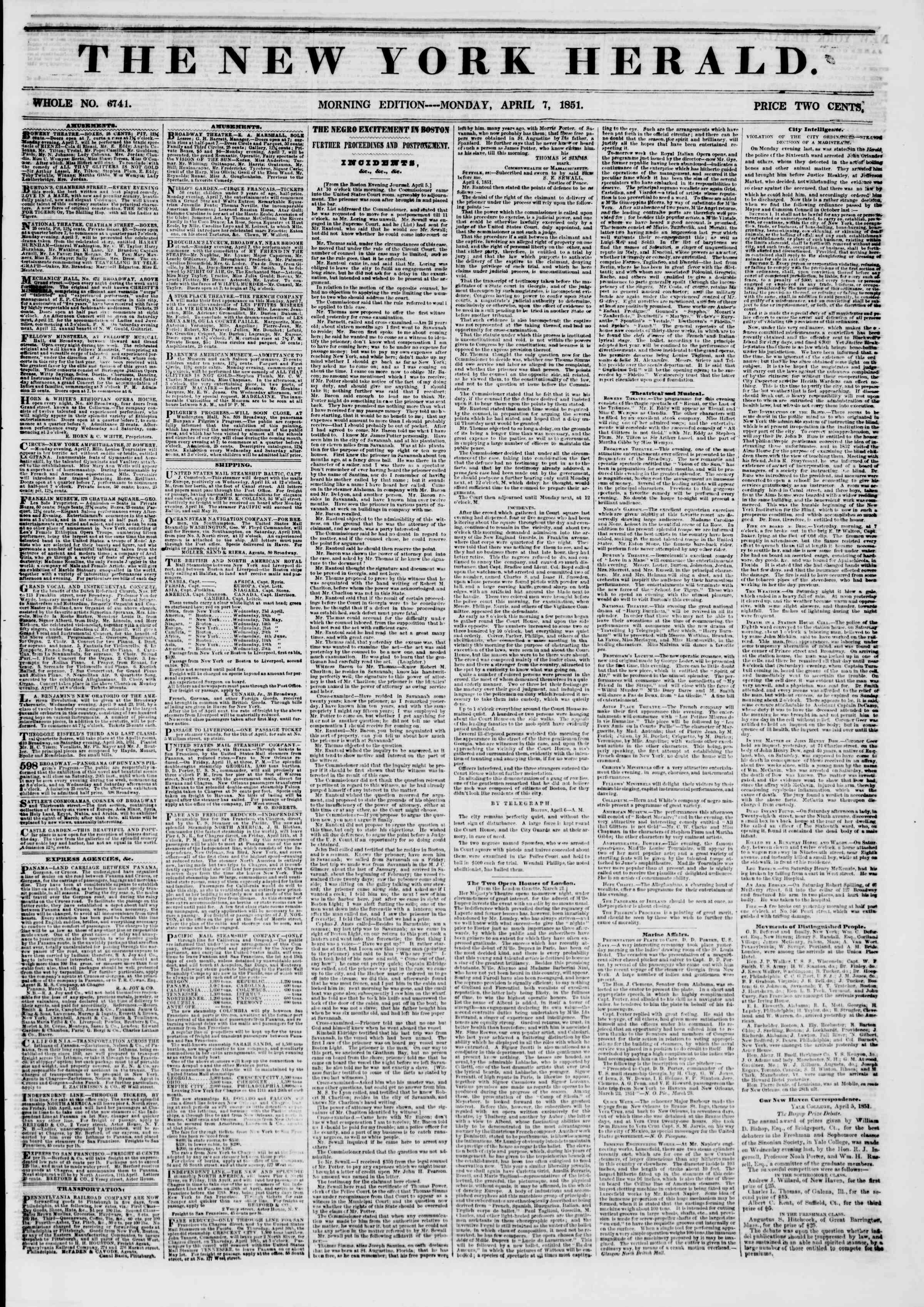 Newspaper of The New York Herald dated April 7, 1851 Page 1