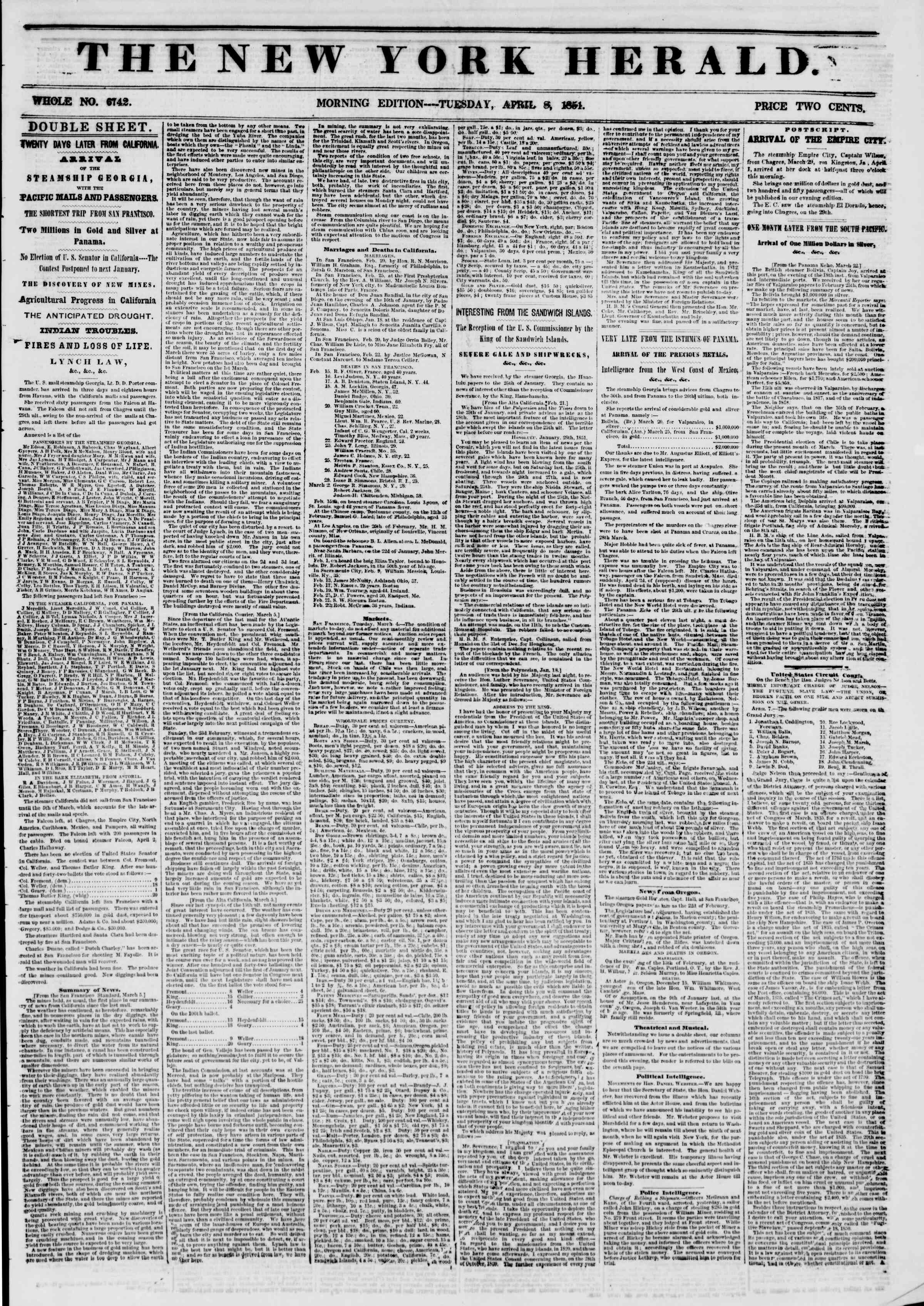 Newspaper of The New York Herald dated April 8, 1851 Page 1
