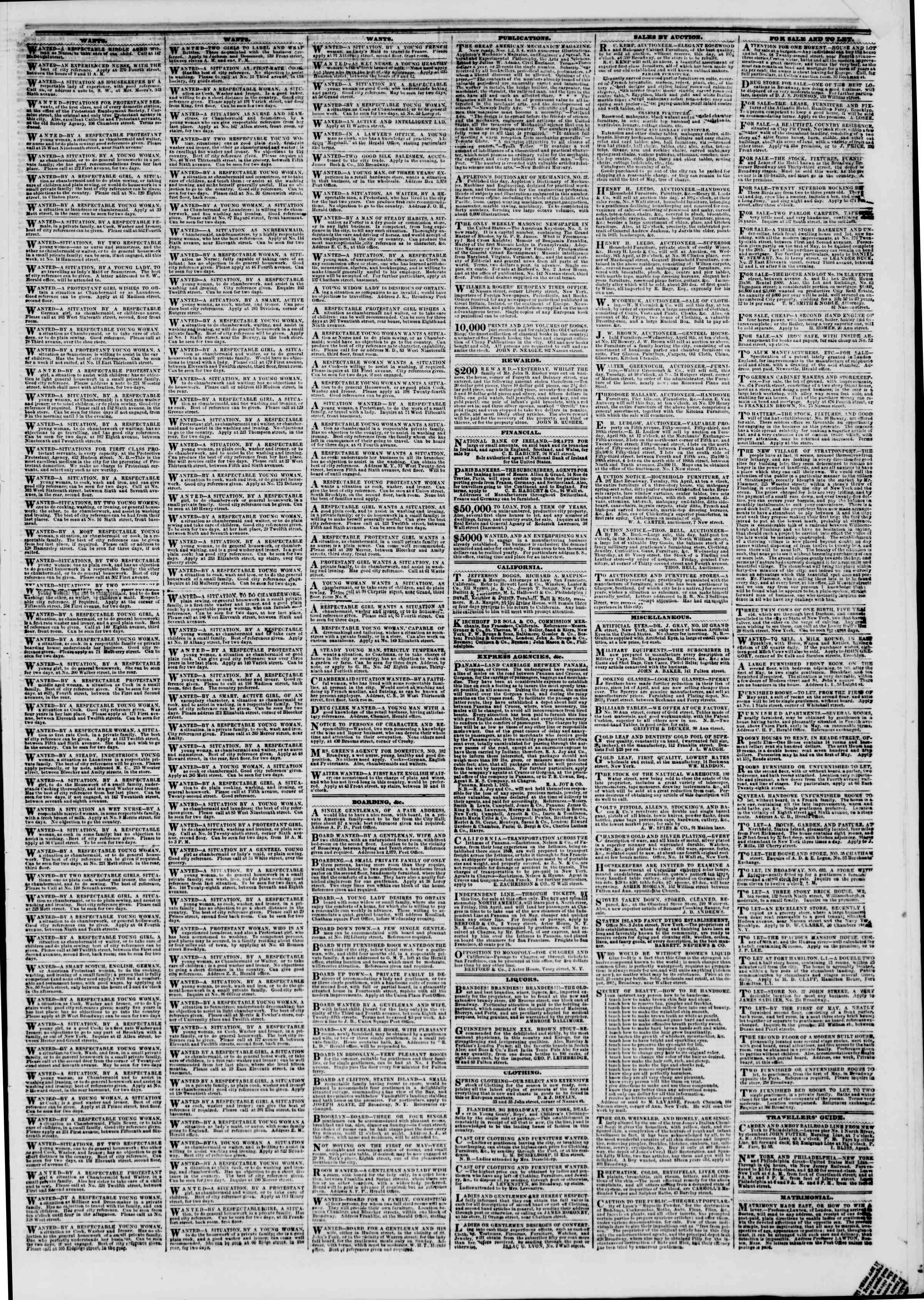 Newspaper of The New York Herald dated April 8, 1851 Page 5