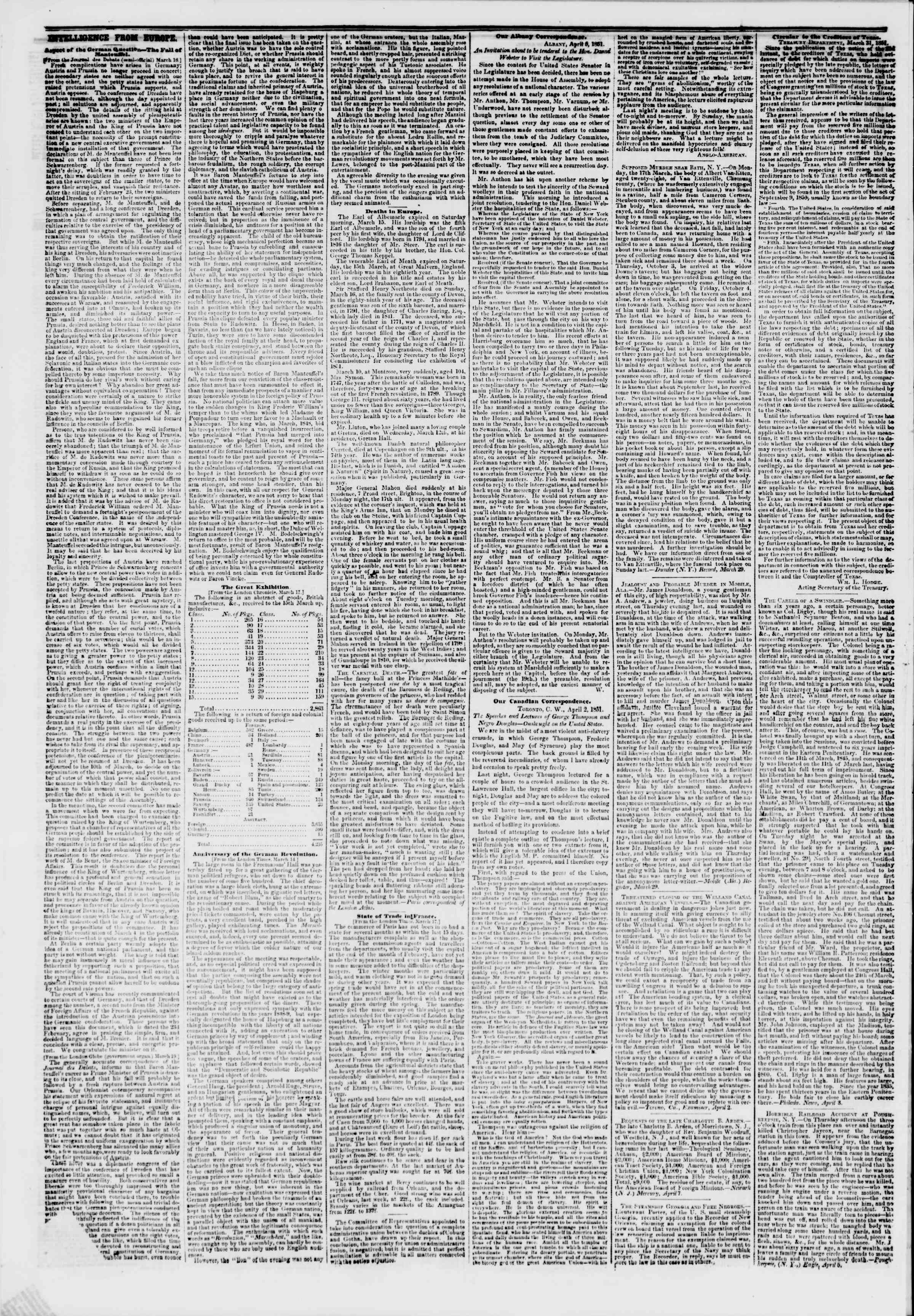 Newspaper of The New York Herald dated April 8, 1851 Page 6