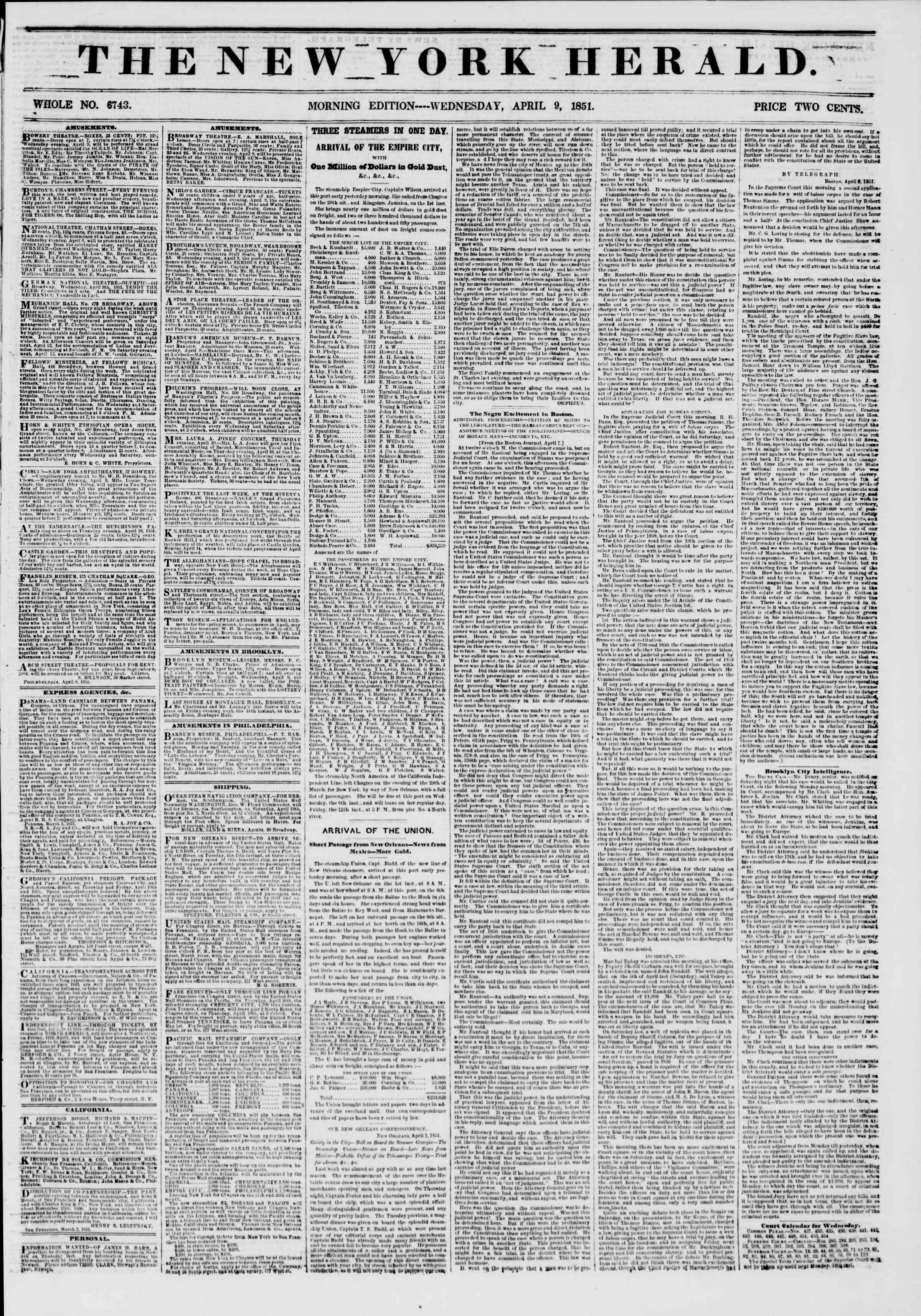 9 Nisan 1851 tarihli The New York Herald Gazetesi Sayfa 1