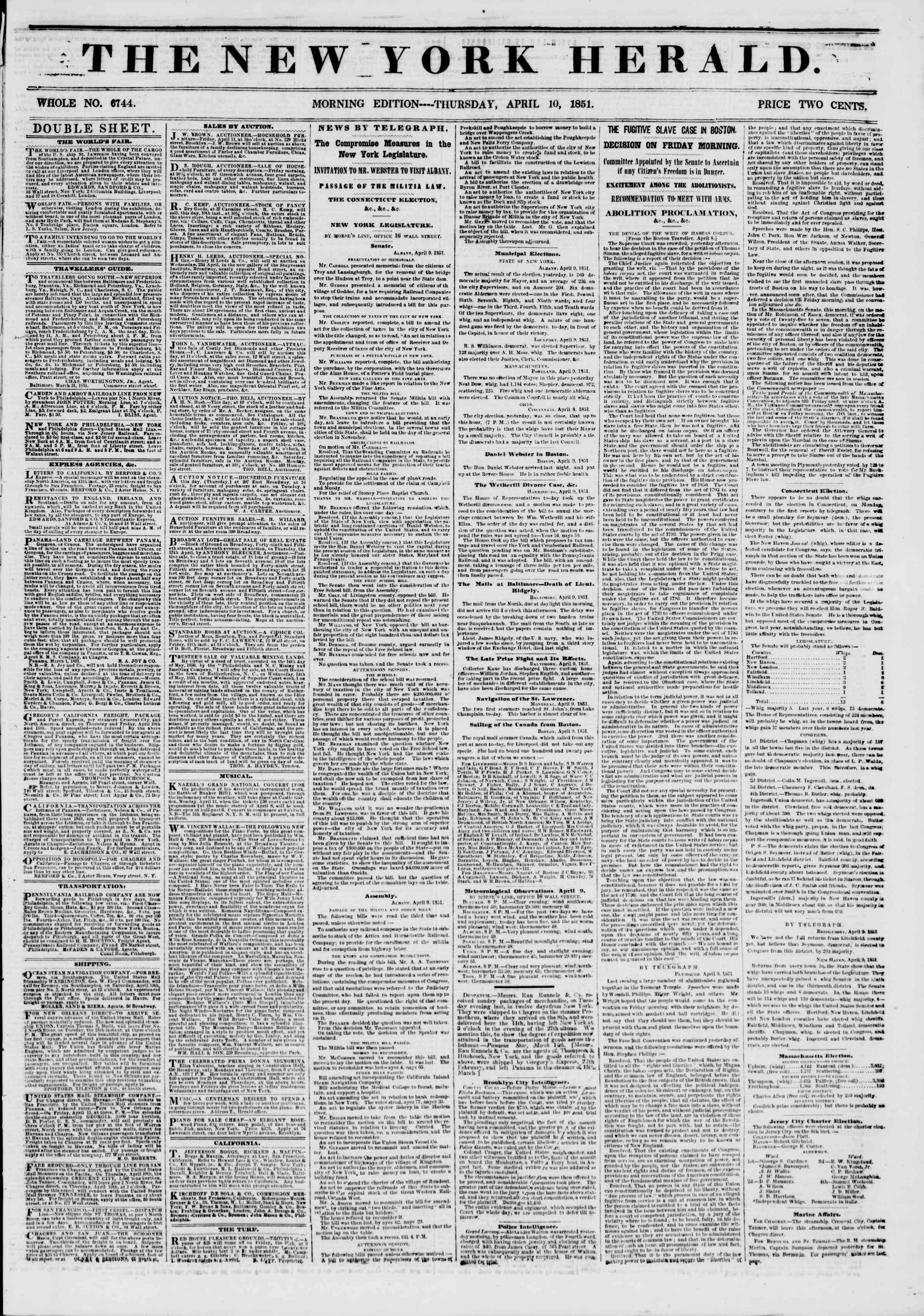 10 Nisan 1851 tarihli The New York Herald Gazetesi Sayfa 1