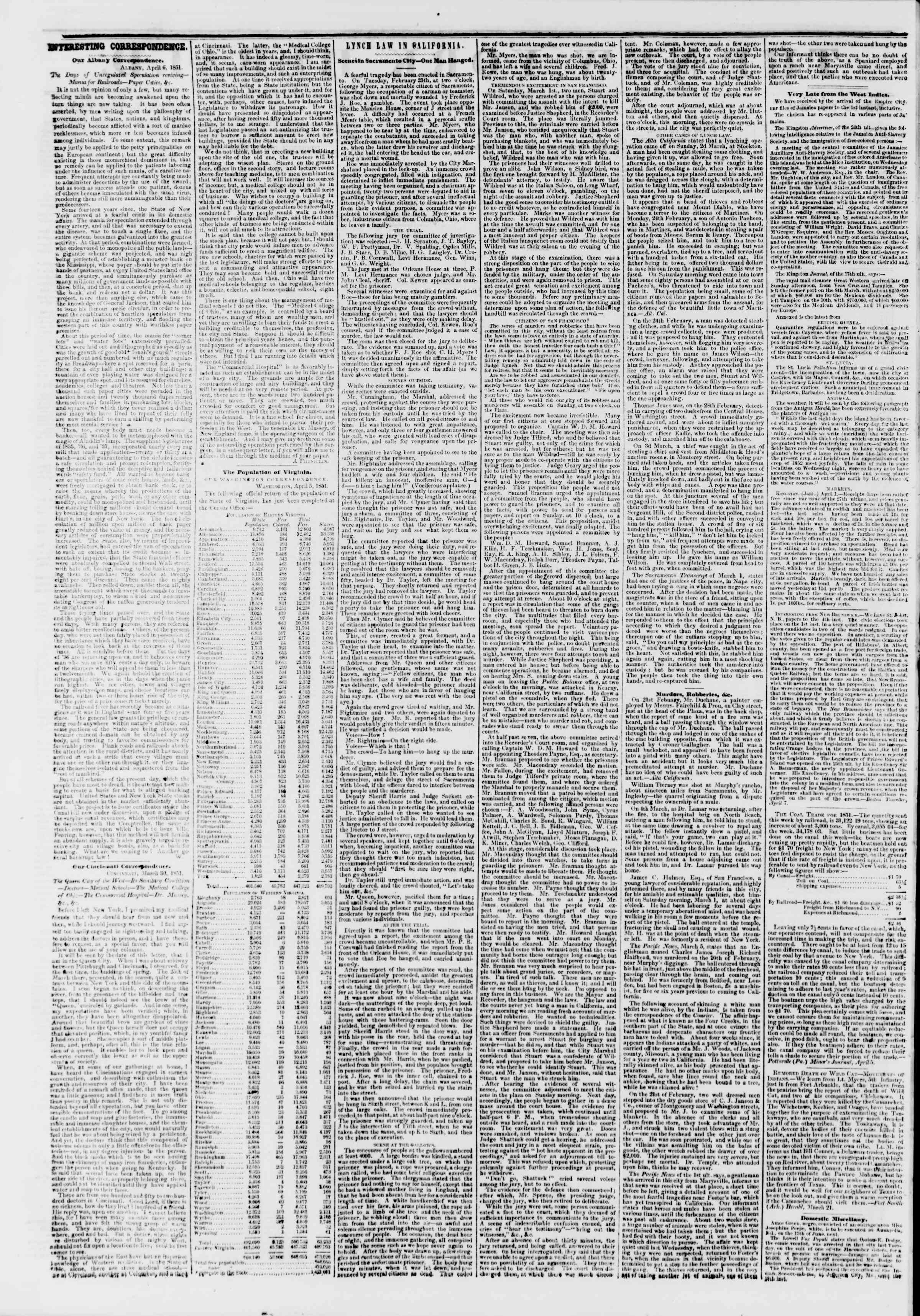 Newspaper of The New York Herald dated April 10, 1851 Page 4