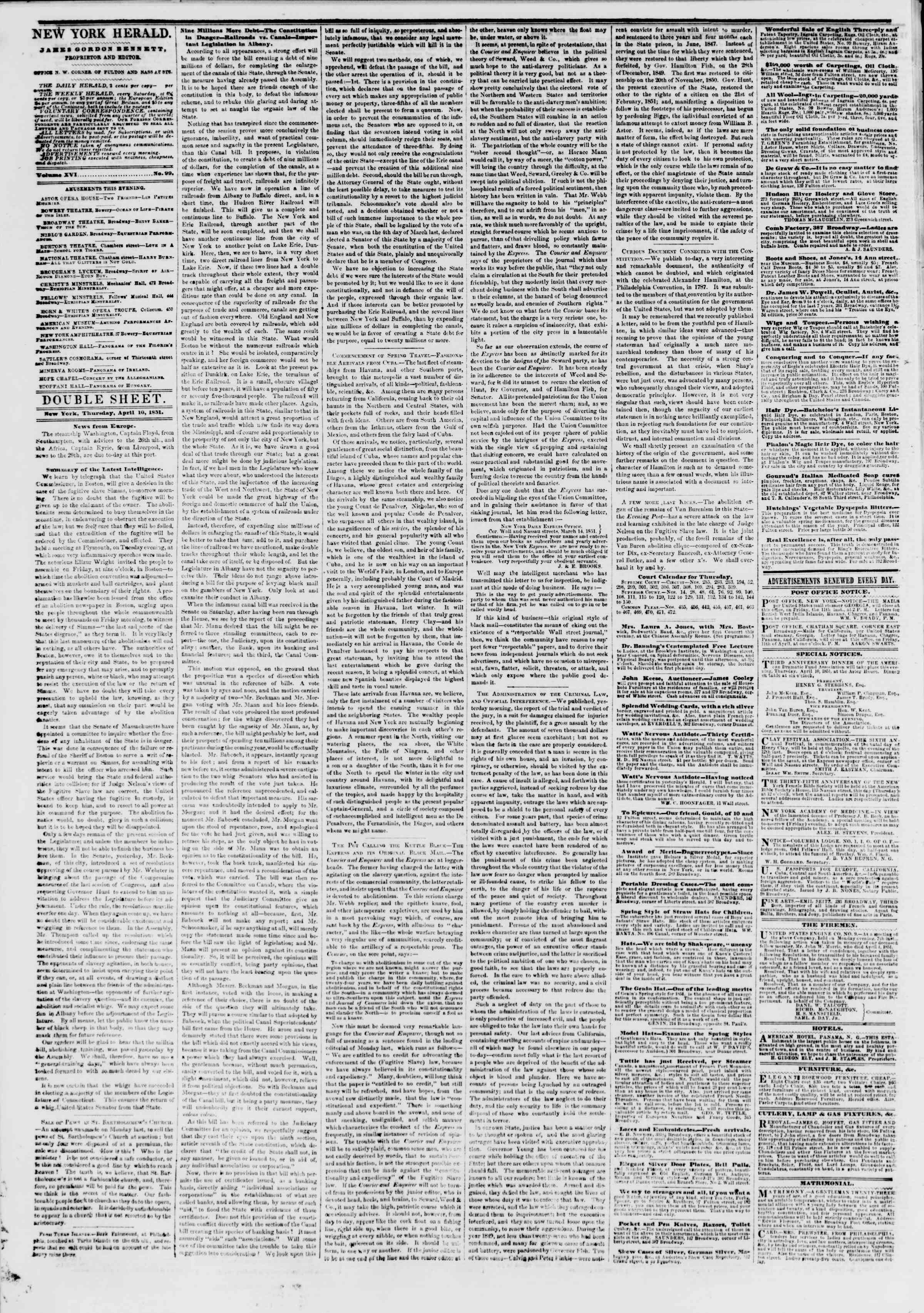 Newspaper of The New York Herald dated April 10, 1851 Page 6