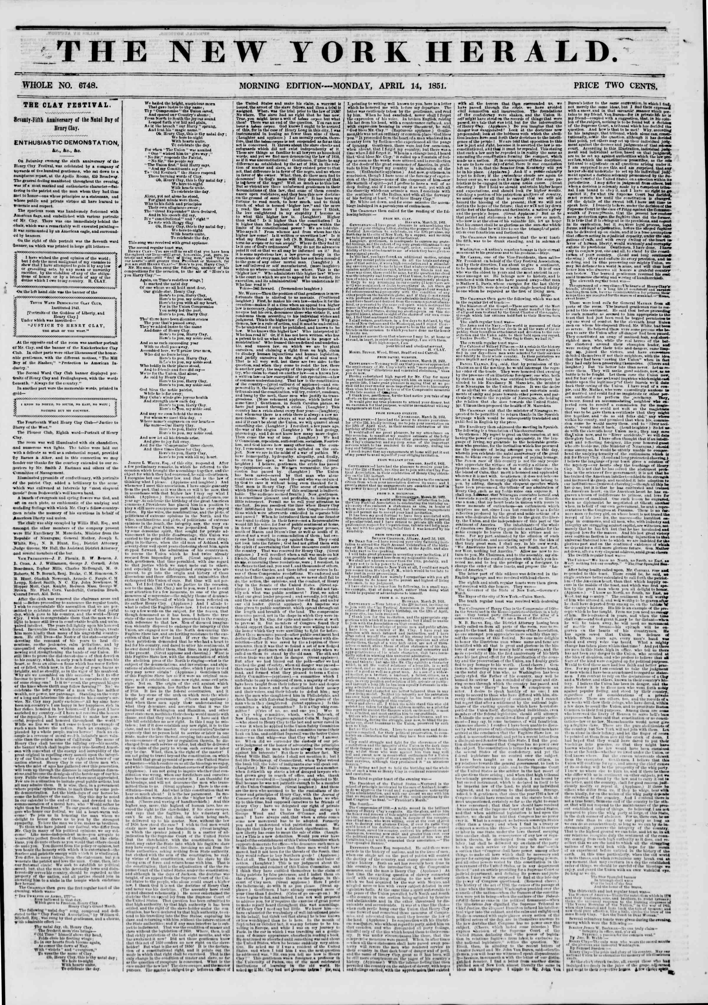 Newspaper of The New York Herald dated April 14, 1851 Page 1