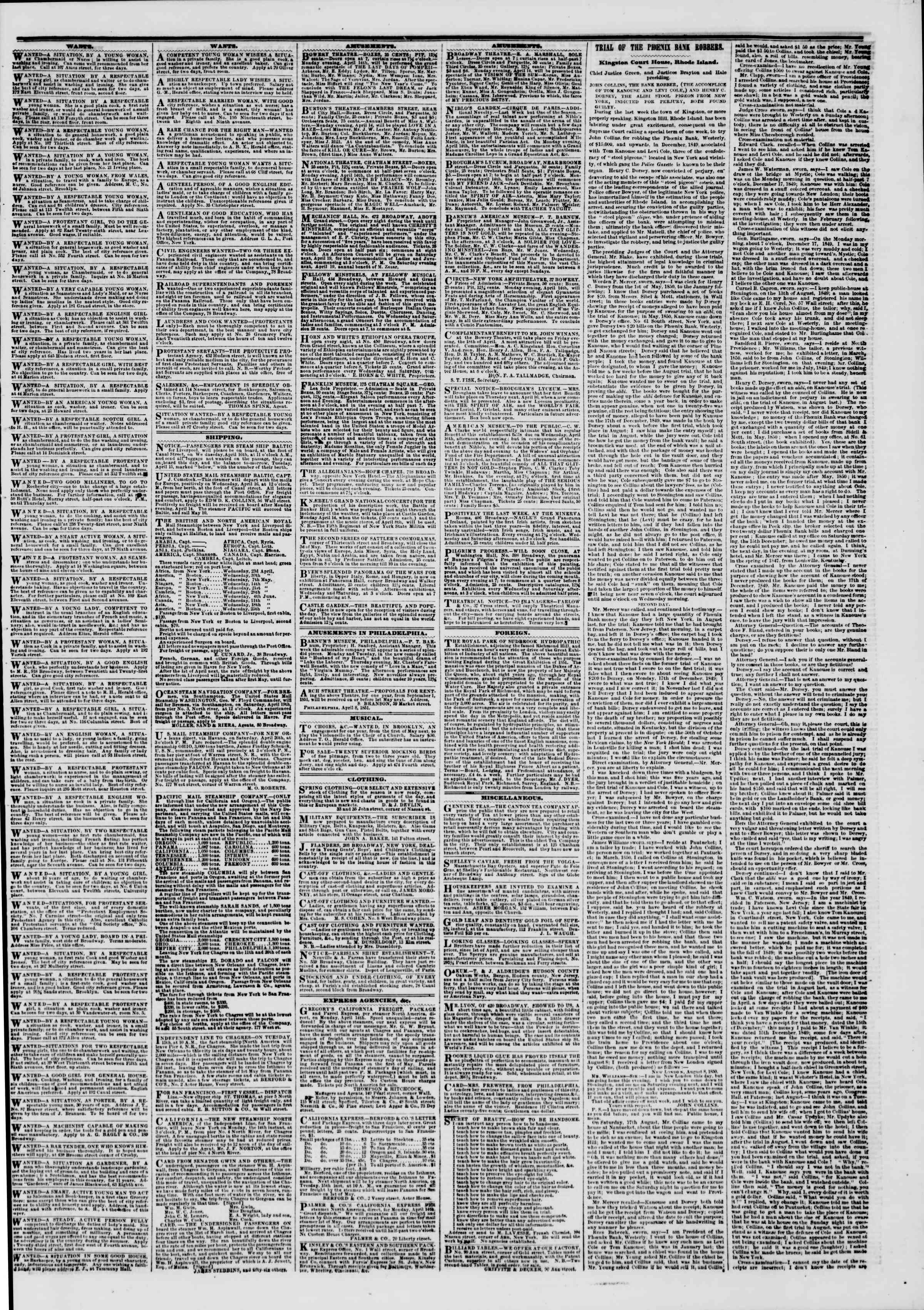 Newspaper of The New York Herald dated April 14, 1851 Page 3