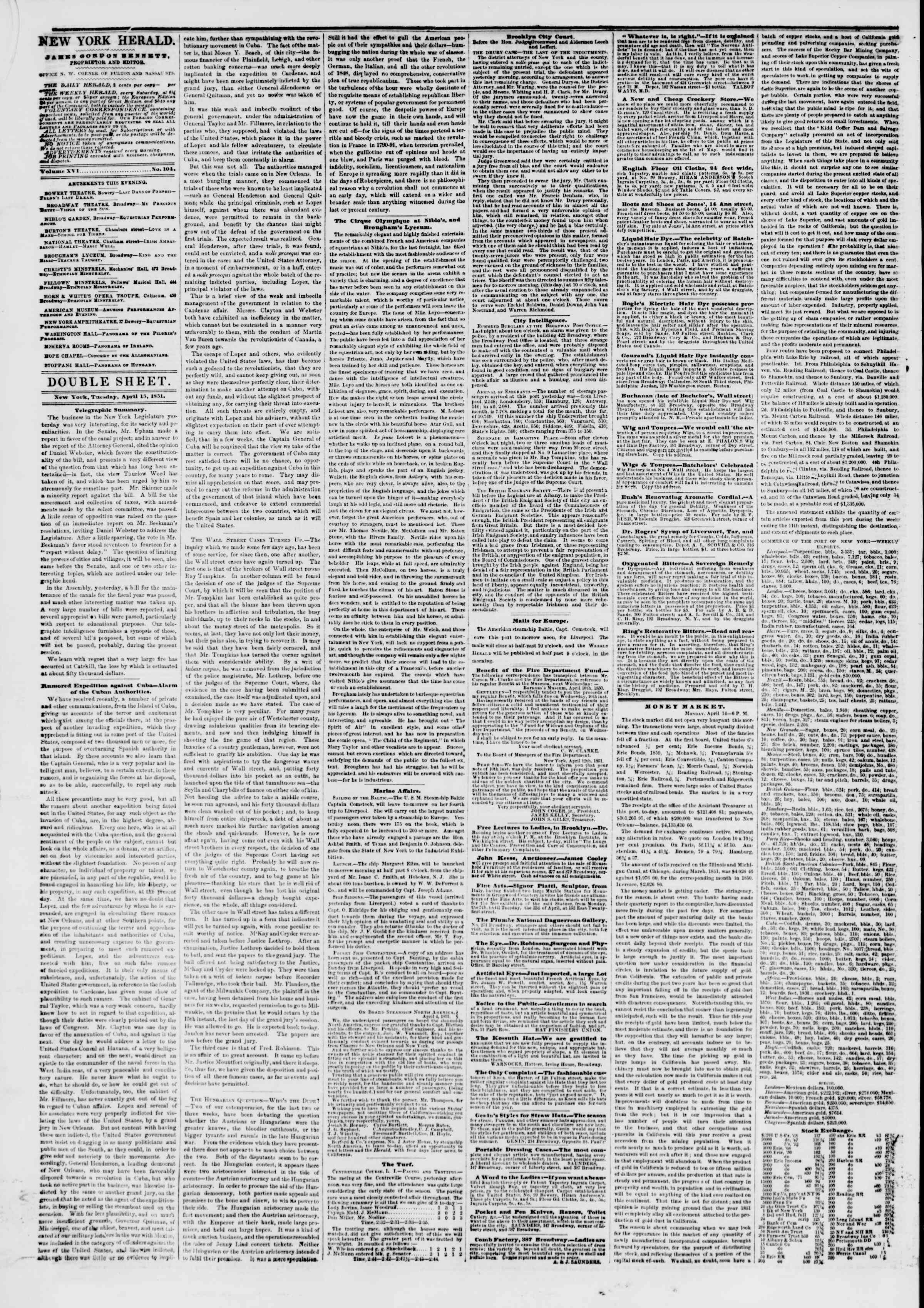 Newspaper of The New York Herald dated April 15, 1851 Page 4