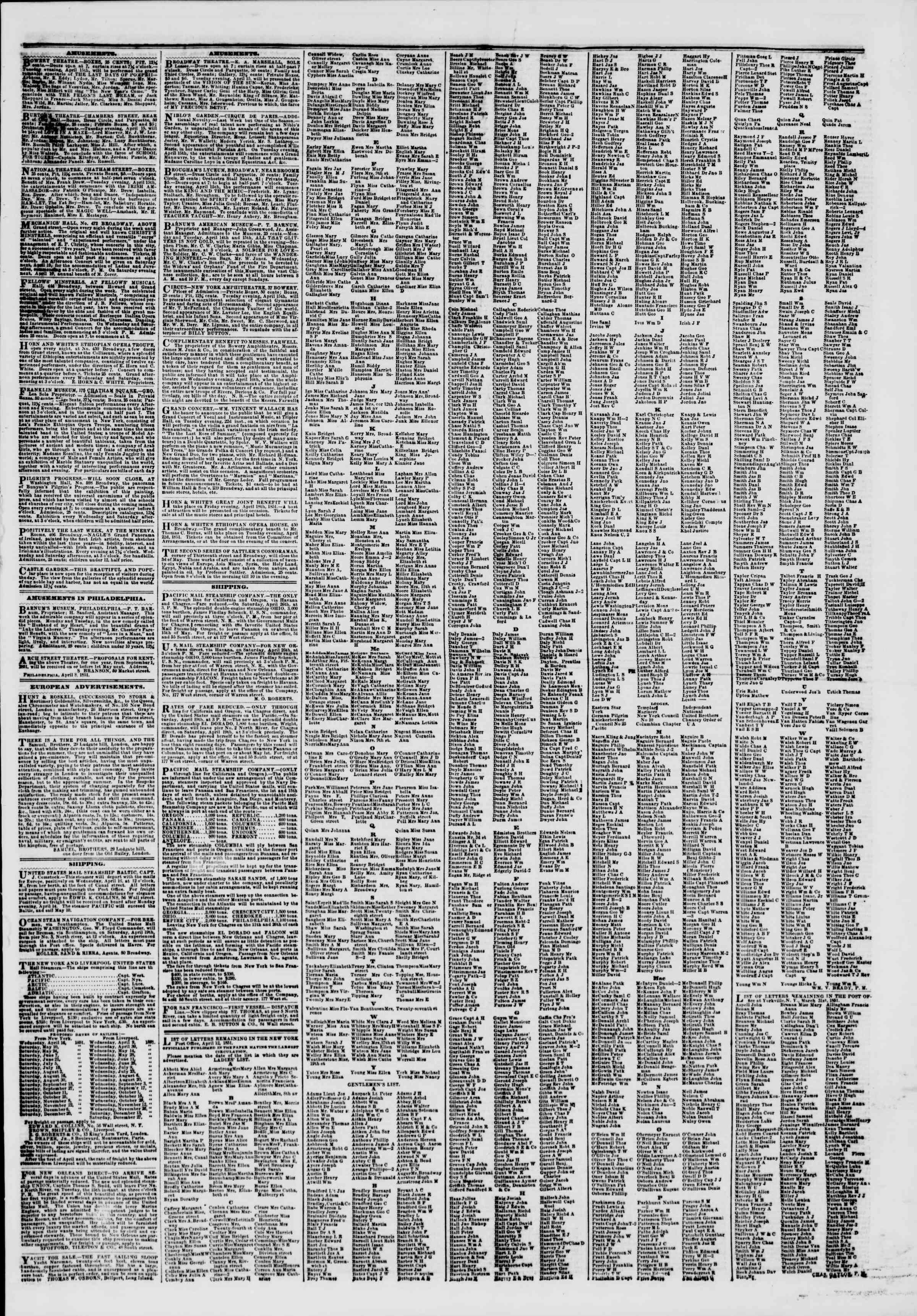 Newspaper of The New York Herald dated April 15, 1851 Page 7