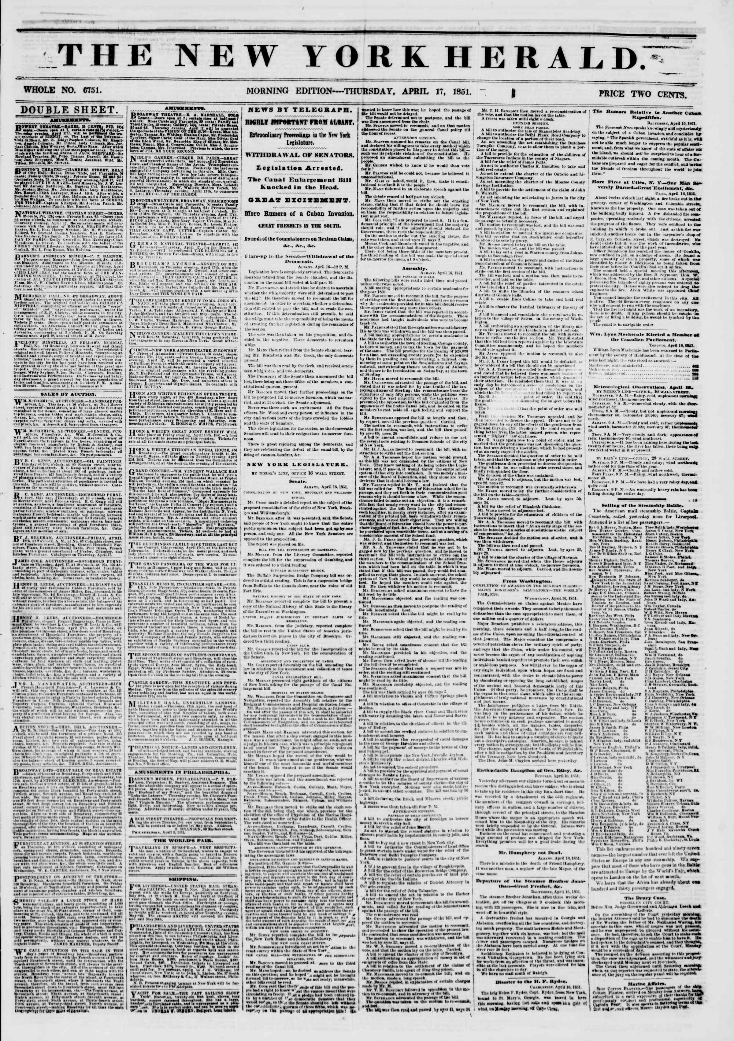 Newspaper of The New York Herald dated April 17, 1851 Page 1