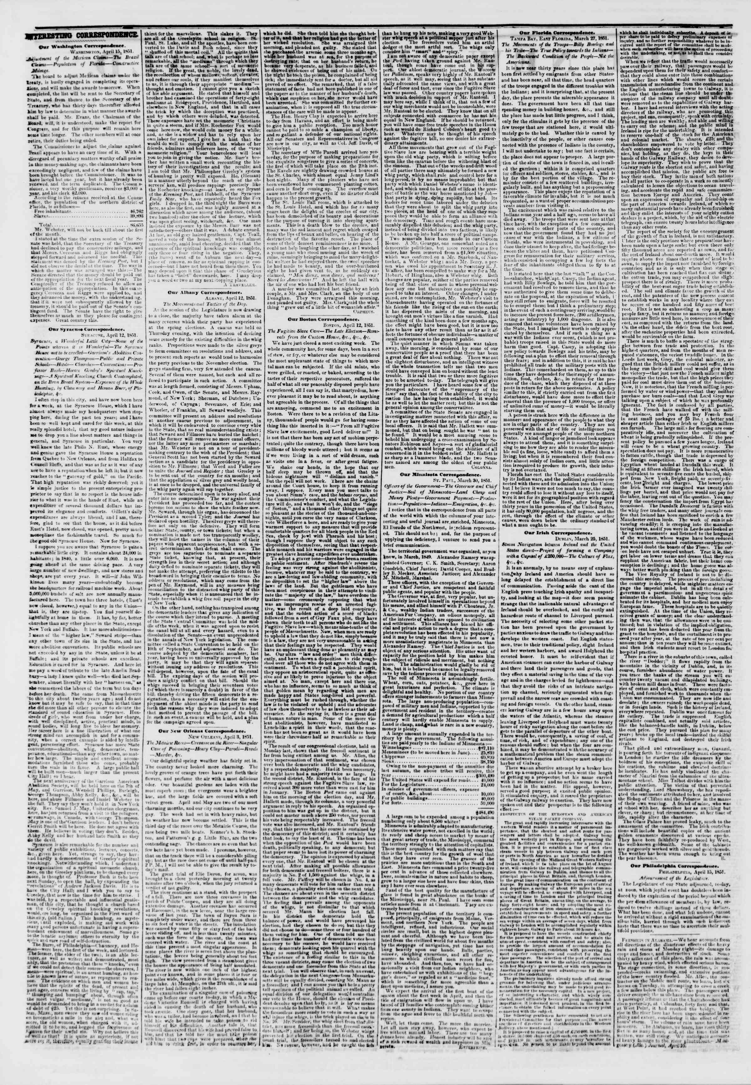 Newspaper of The New York Herald dated April 17, 1851 Page 2