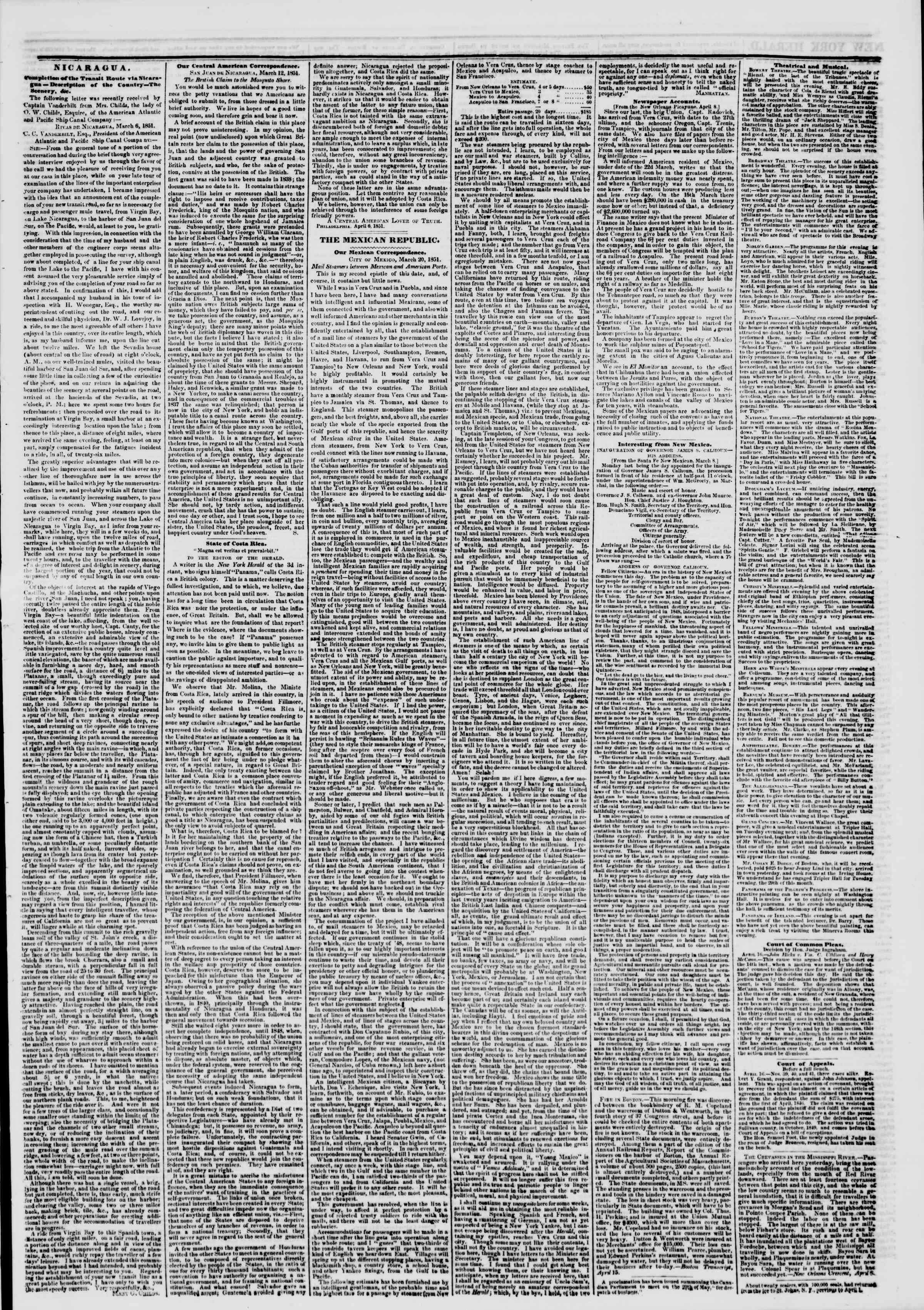 Newspaper of The New York Herald dated April 17, 1851 Page 3