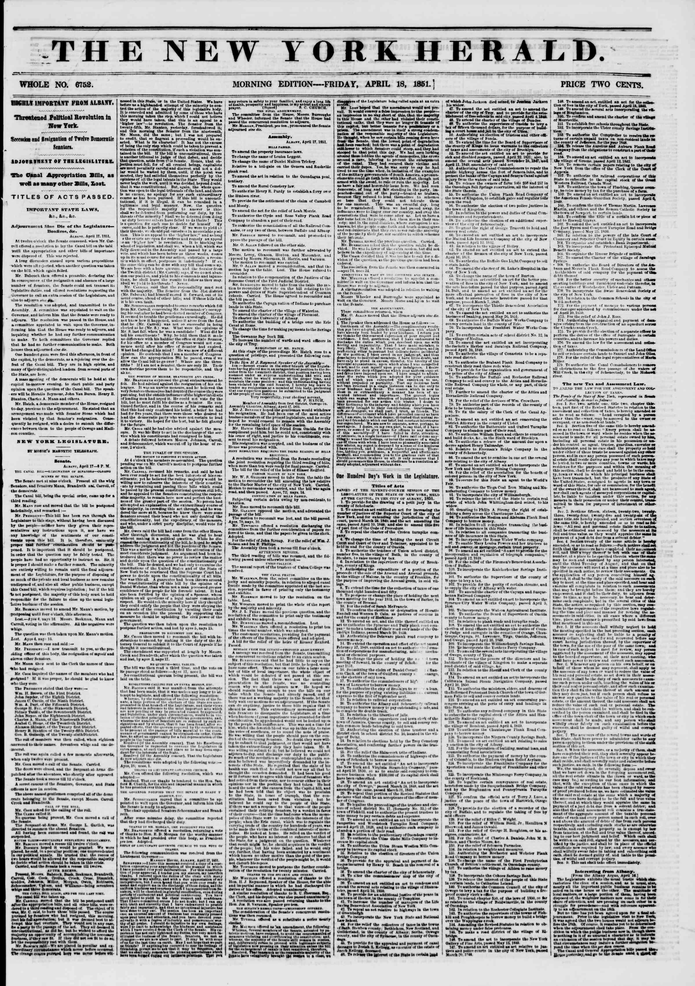 18 Nisan 1851 tarihli The New York Herald Gazetesi Sayfa 1