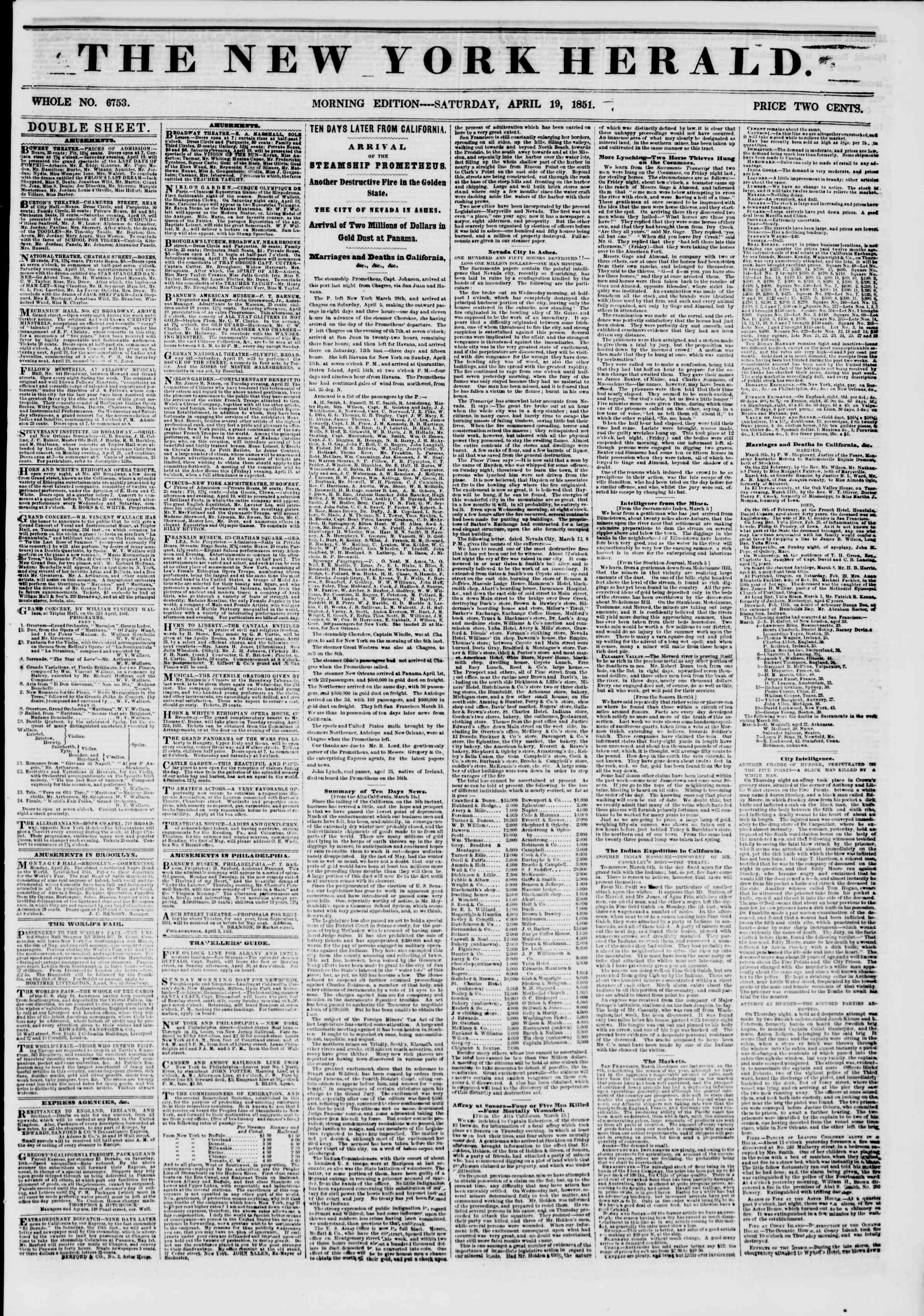 Newspaper of The New York Herald dated April 19, 1851 Page 1