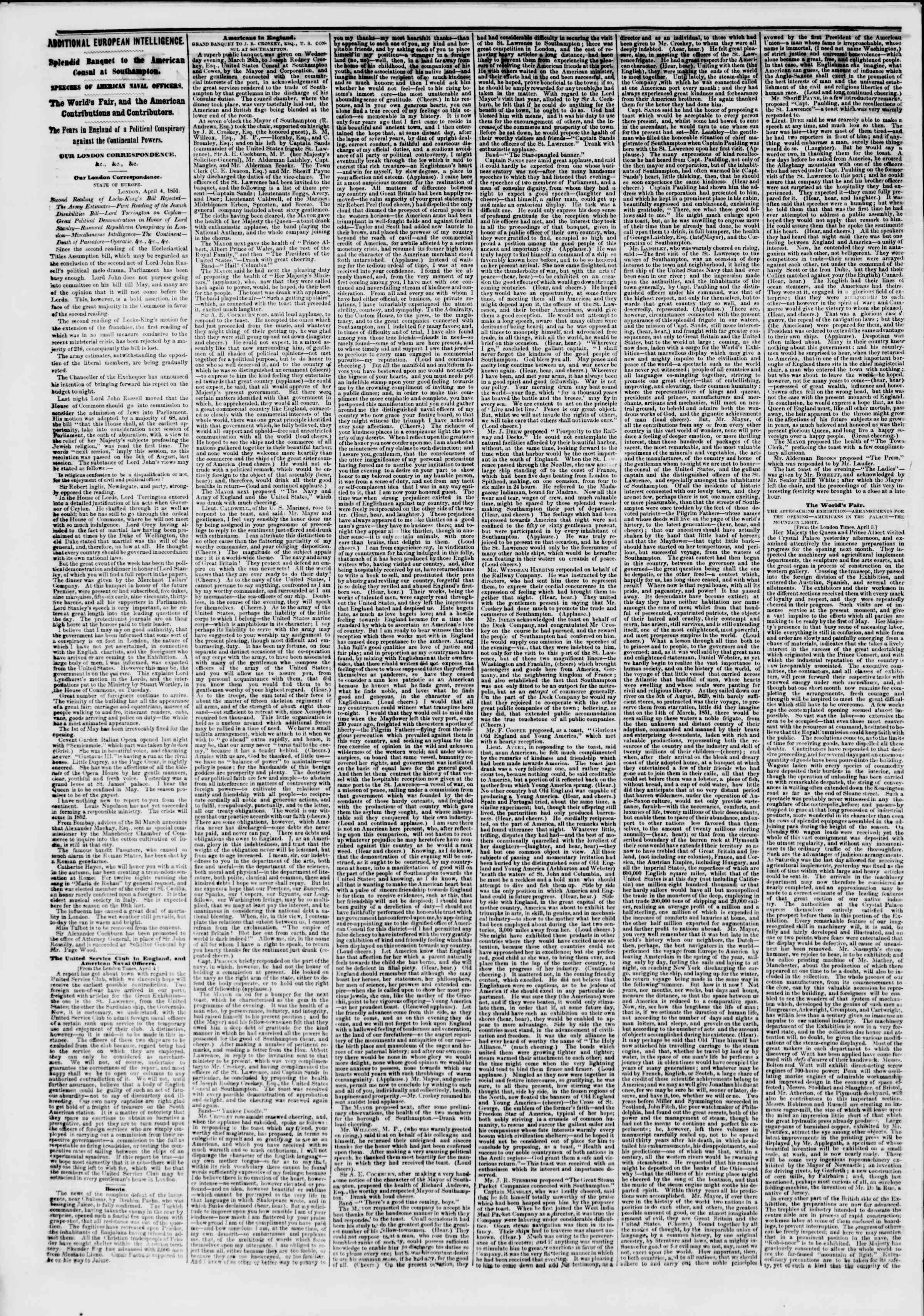 Newspaper of The New York Herald dated April 19, 1851 Page 2