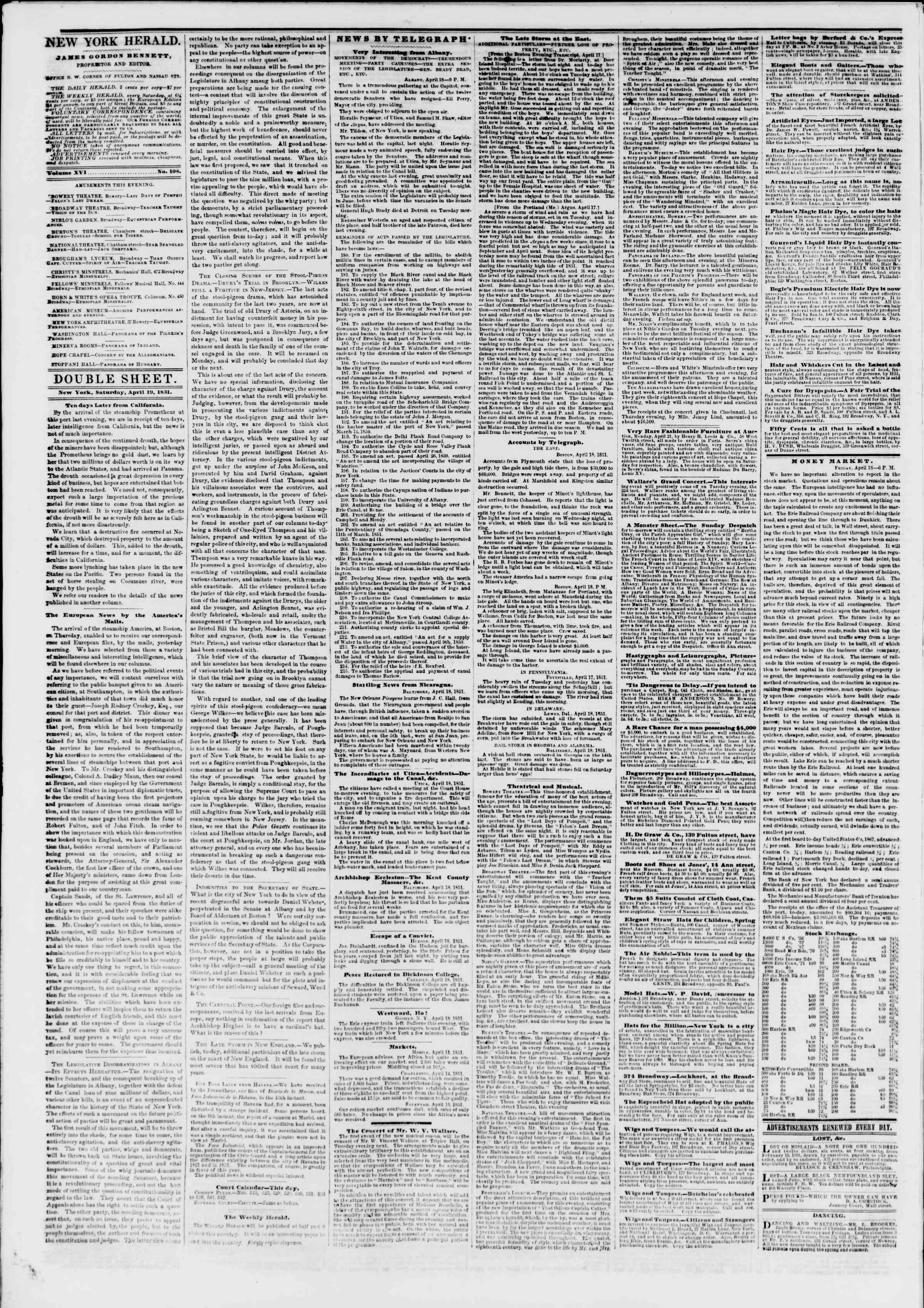 Newspaper of The New York Herald dated April 19, 1851 Page 4