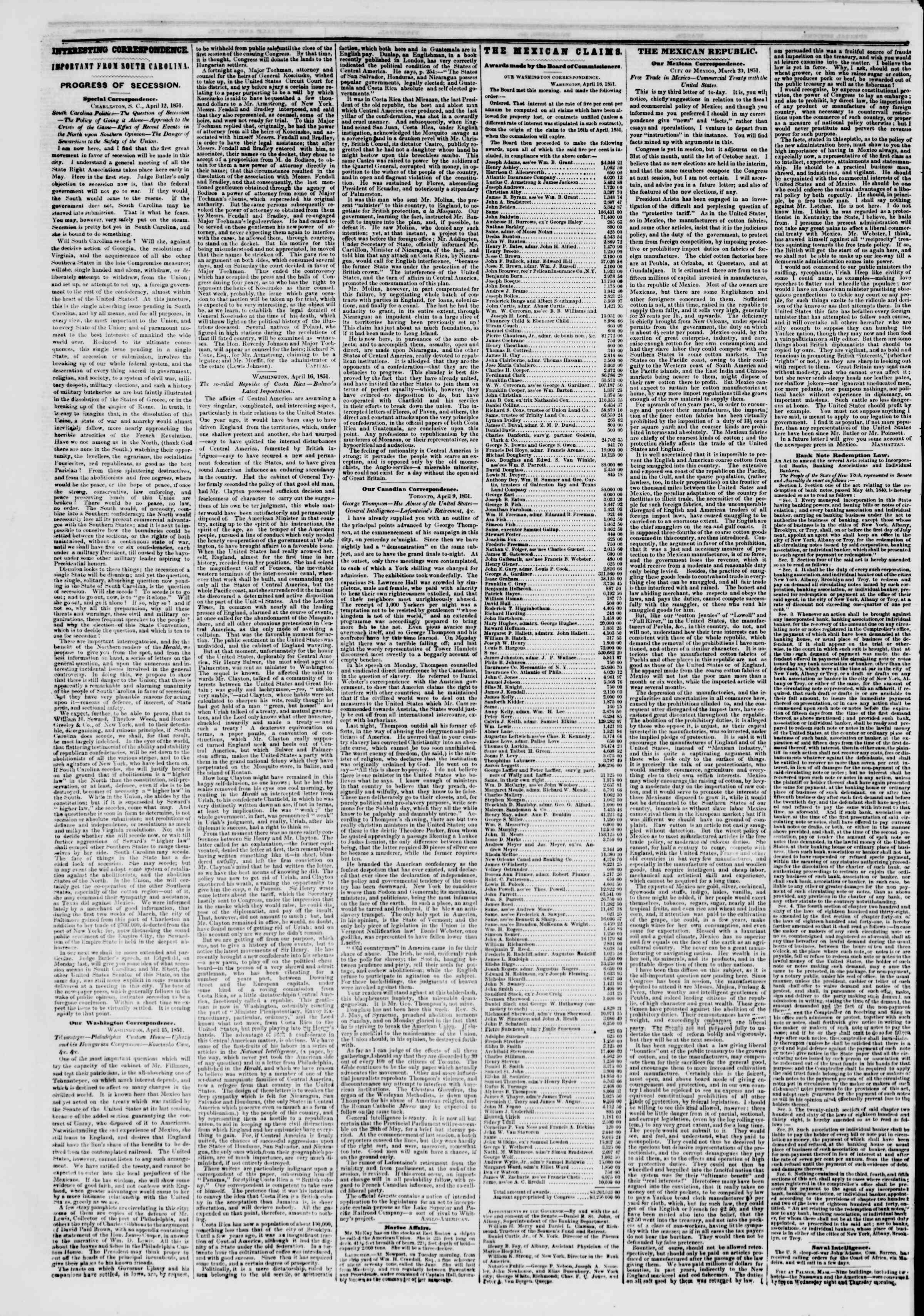 Newspaper of The New York Herald dated April 19, 1851 Page 6