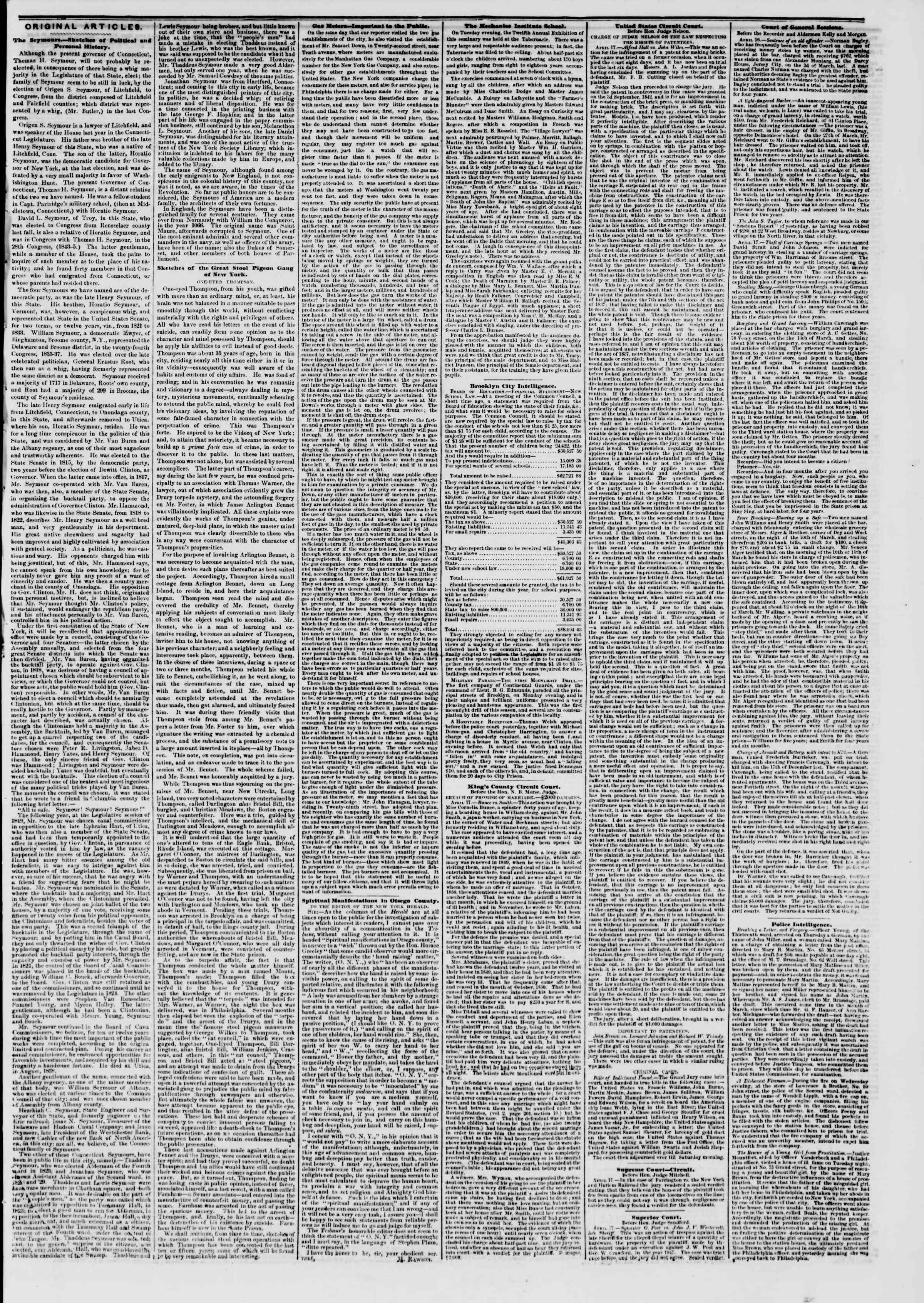 Newspaper of The New York Herald dated April 19, 1851 Page 7