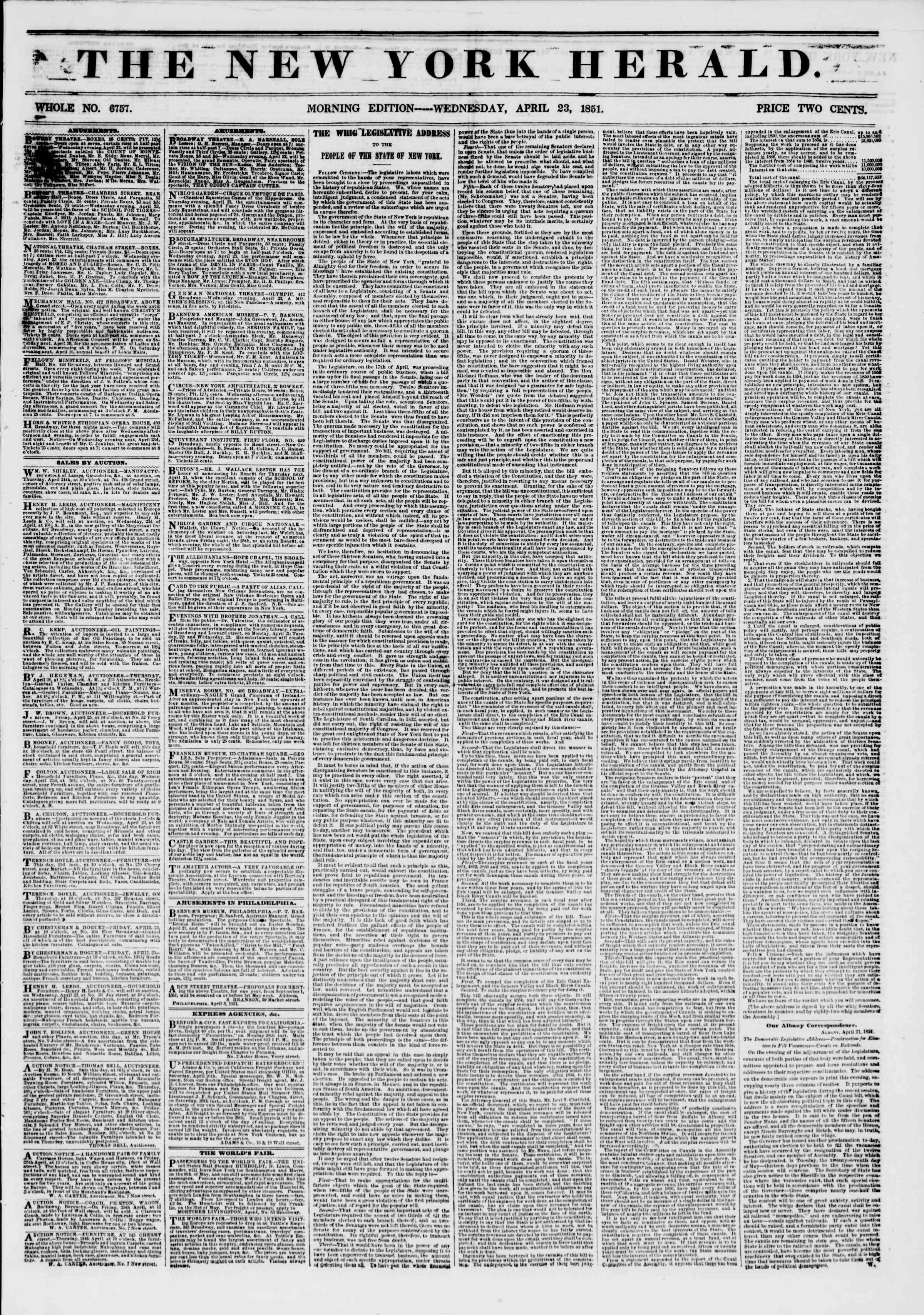 23 Nisan 1851 tarihli The New York Herald Gazetesi Sayfa 1