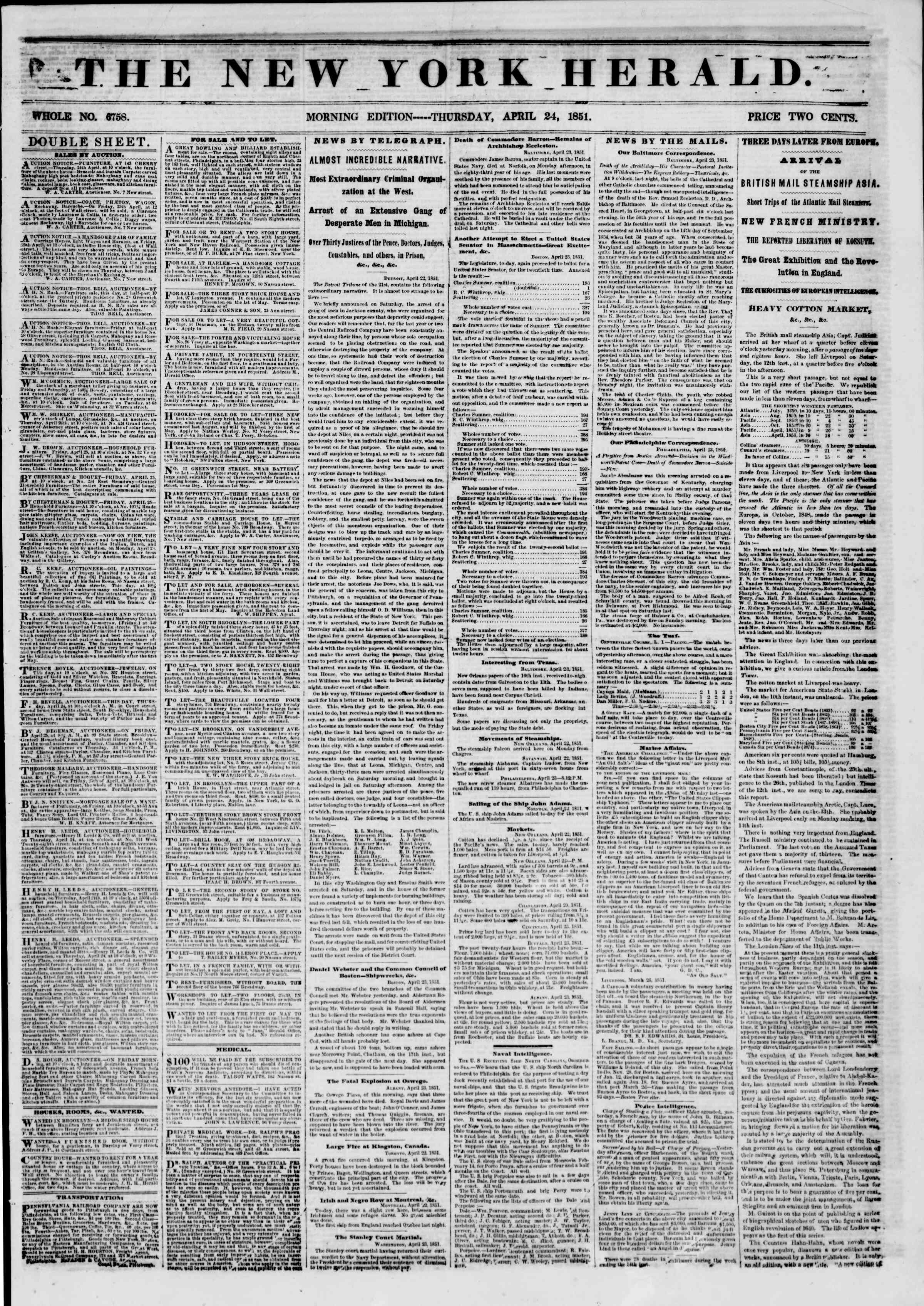 Newspaper of The New York Herald dated April 24, 1851 Page 1