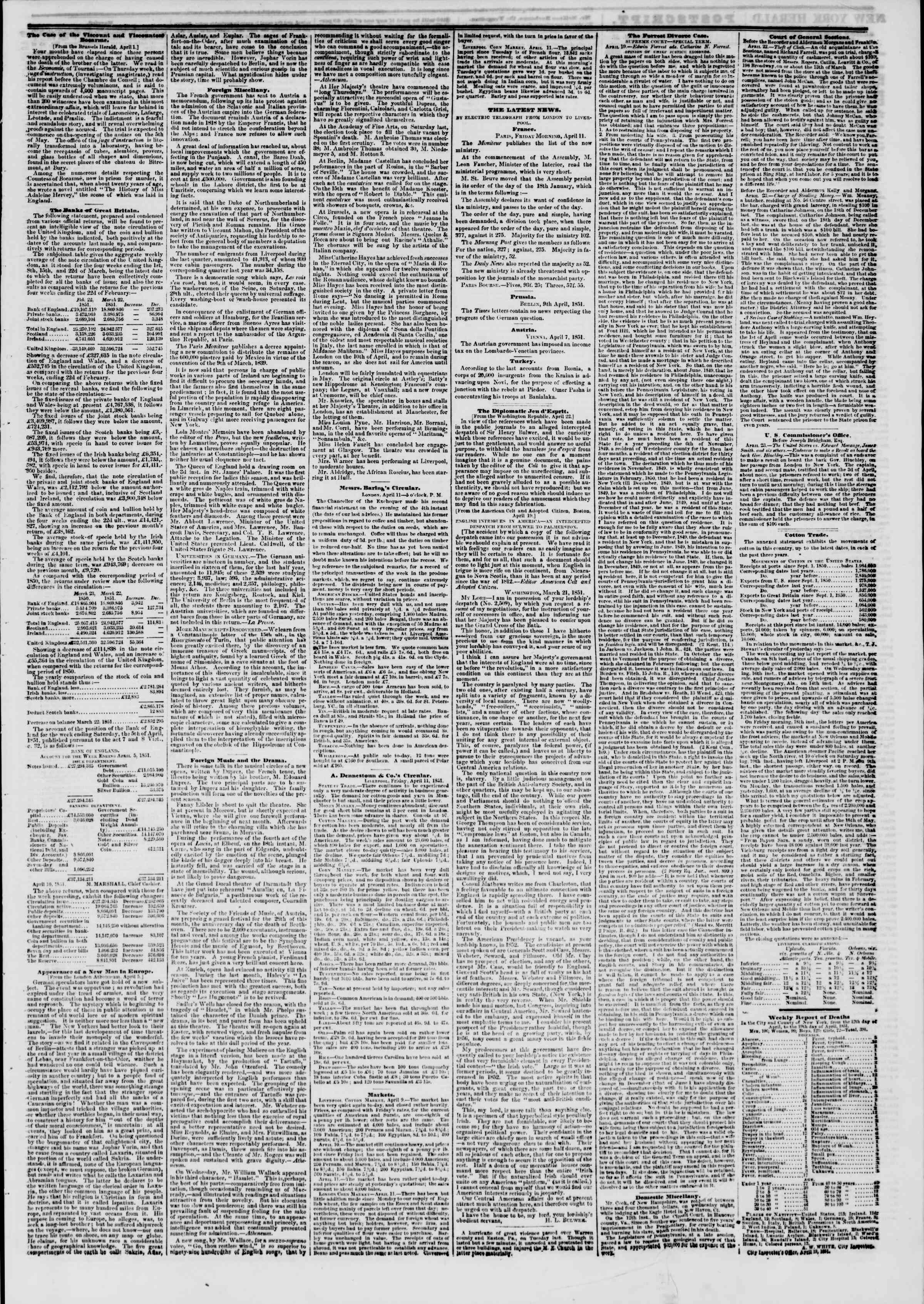 Newspaper of The New York Herald dated April 24, 1851 Page 3