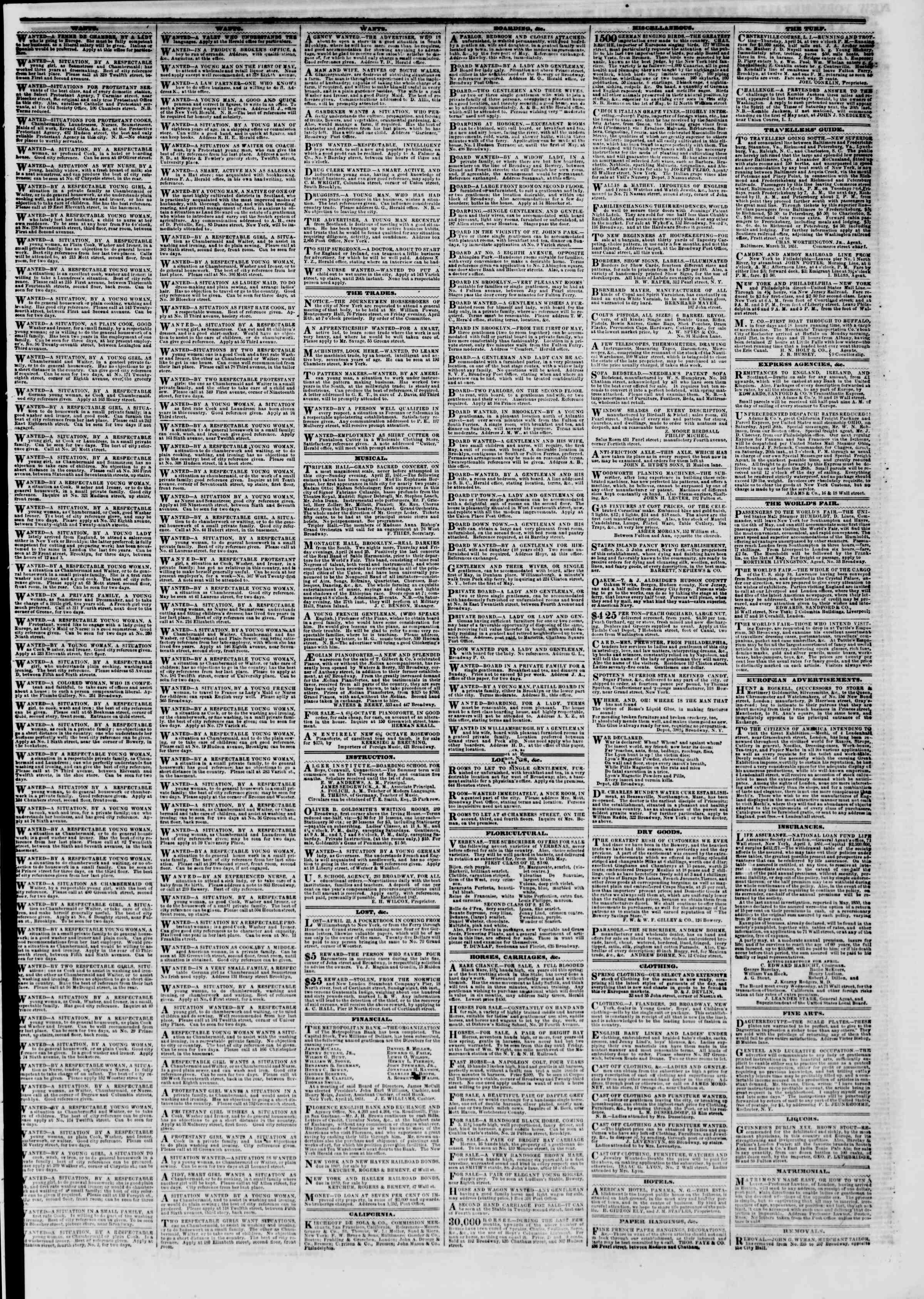 Newspaper of The New York Herald dated April 24, 1851 Page 5