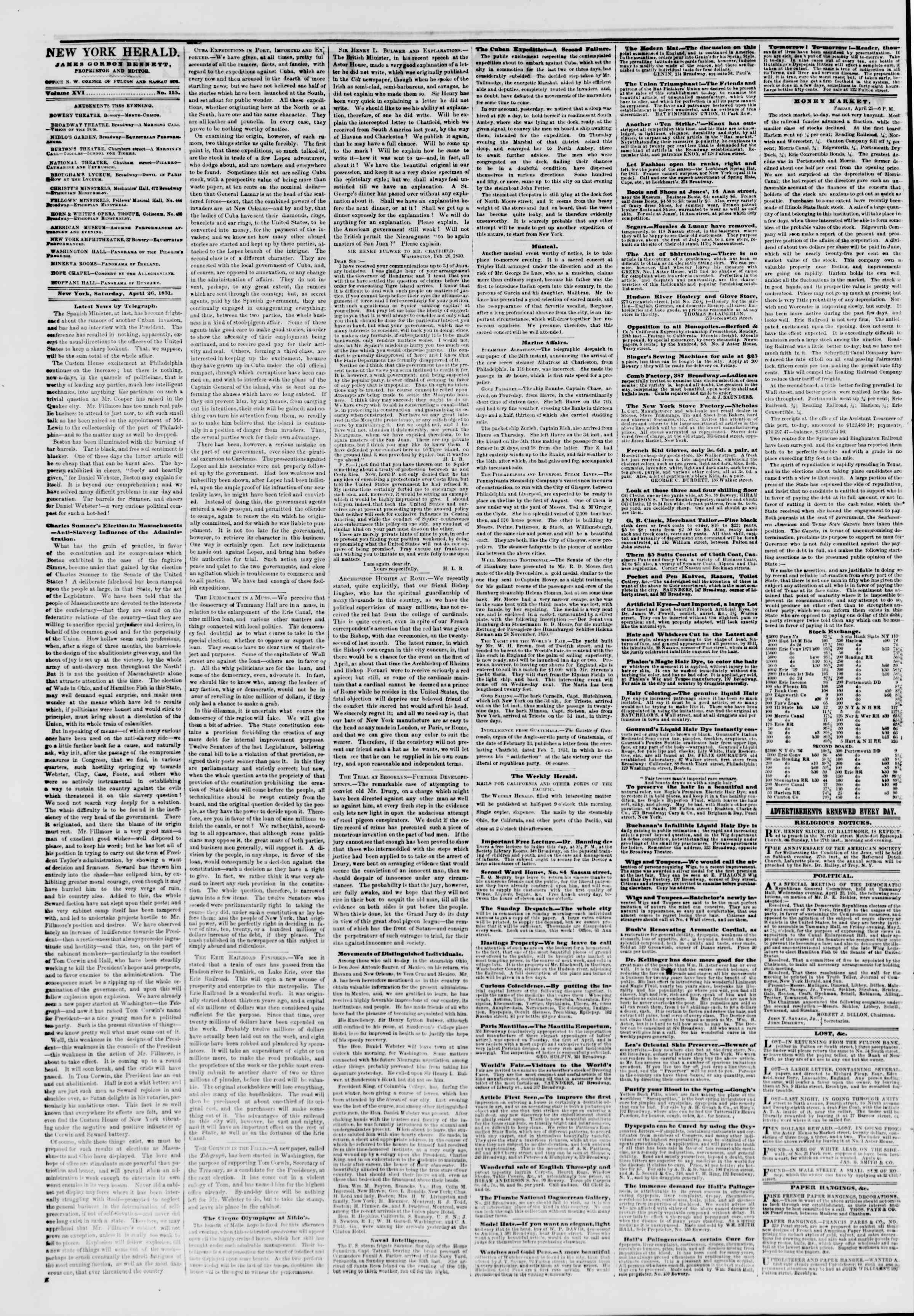 Newspaper of The New York Herald dated 26 Nisan 1851 Page 2
