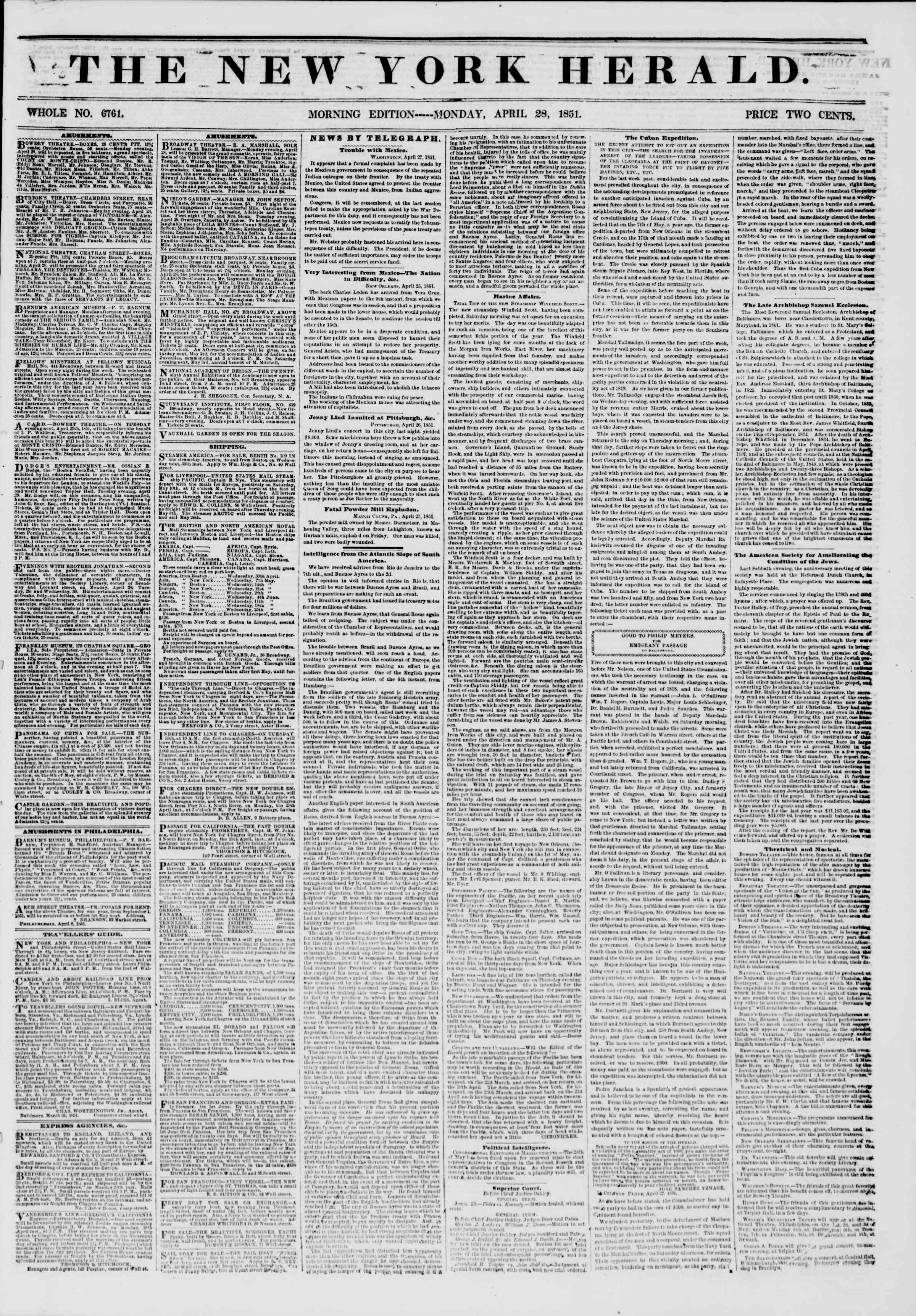 Newspaper of The New York Herald dated April 28, 1851 Page 1