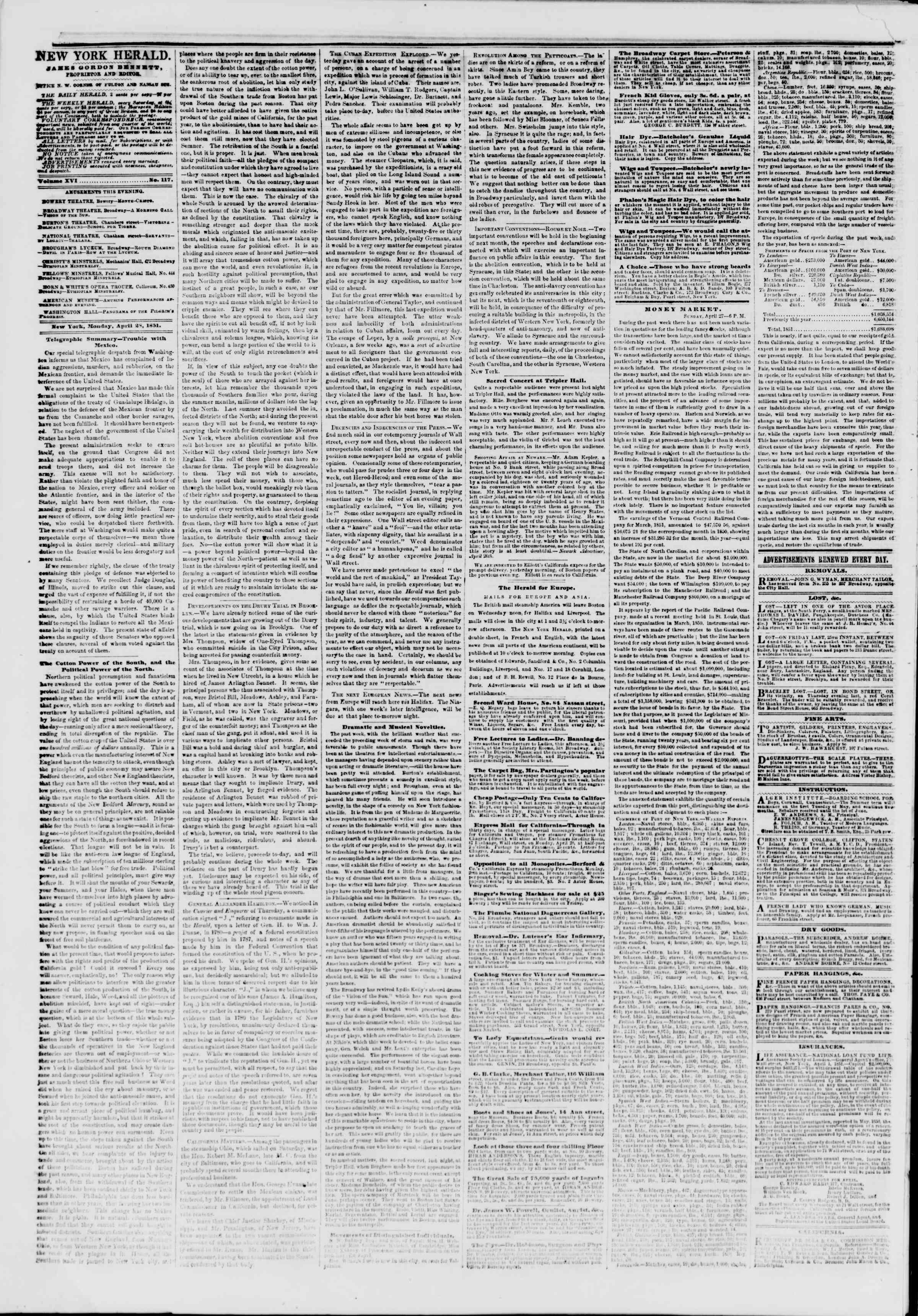 Newspaper of The New York Herald dated April 28, 1851 Page 2