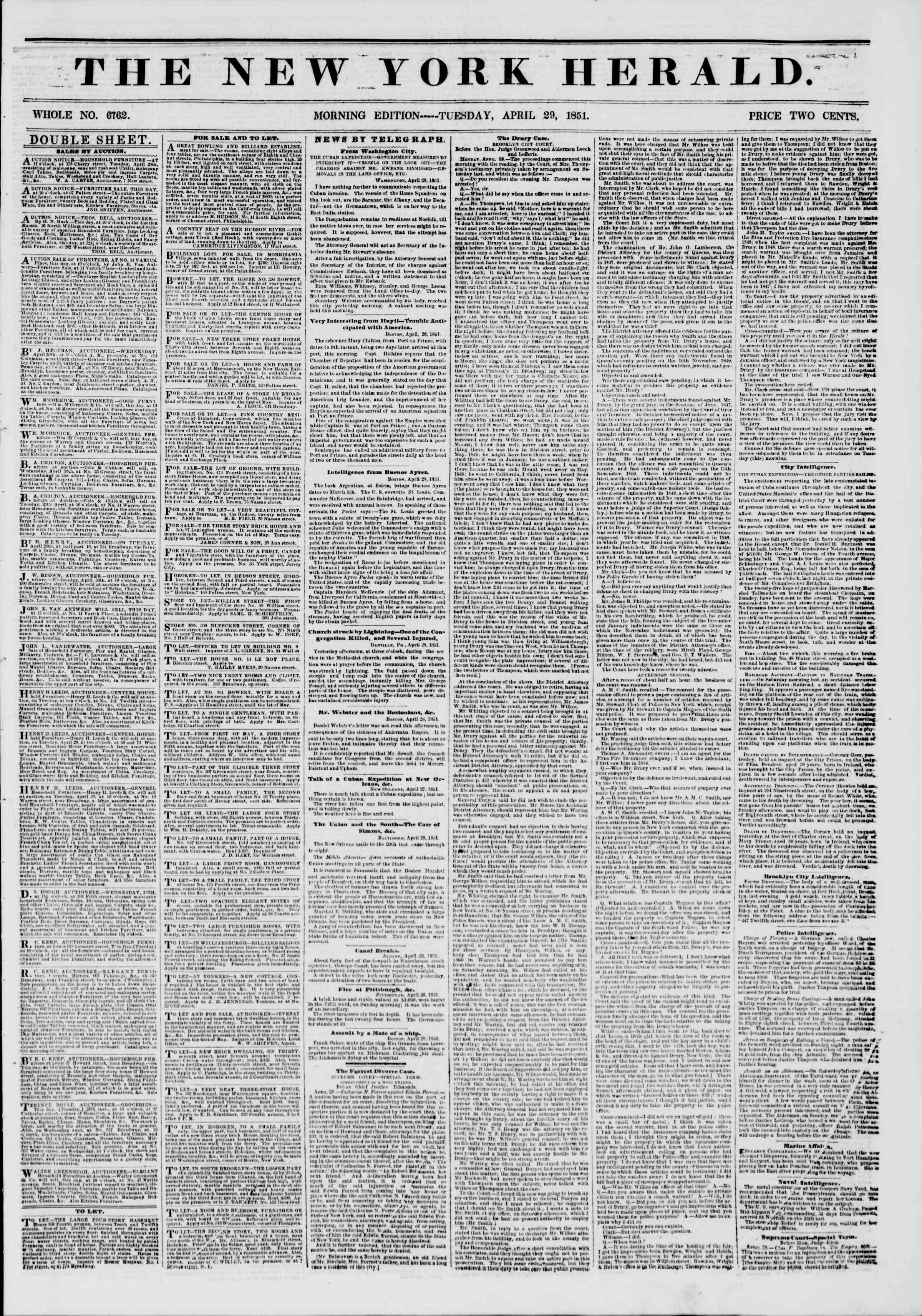 Newspaper of The New York Herald dated April 29, 1851 Page 1
