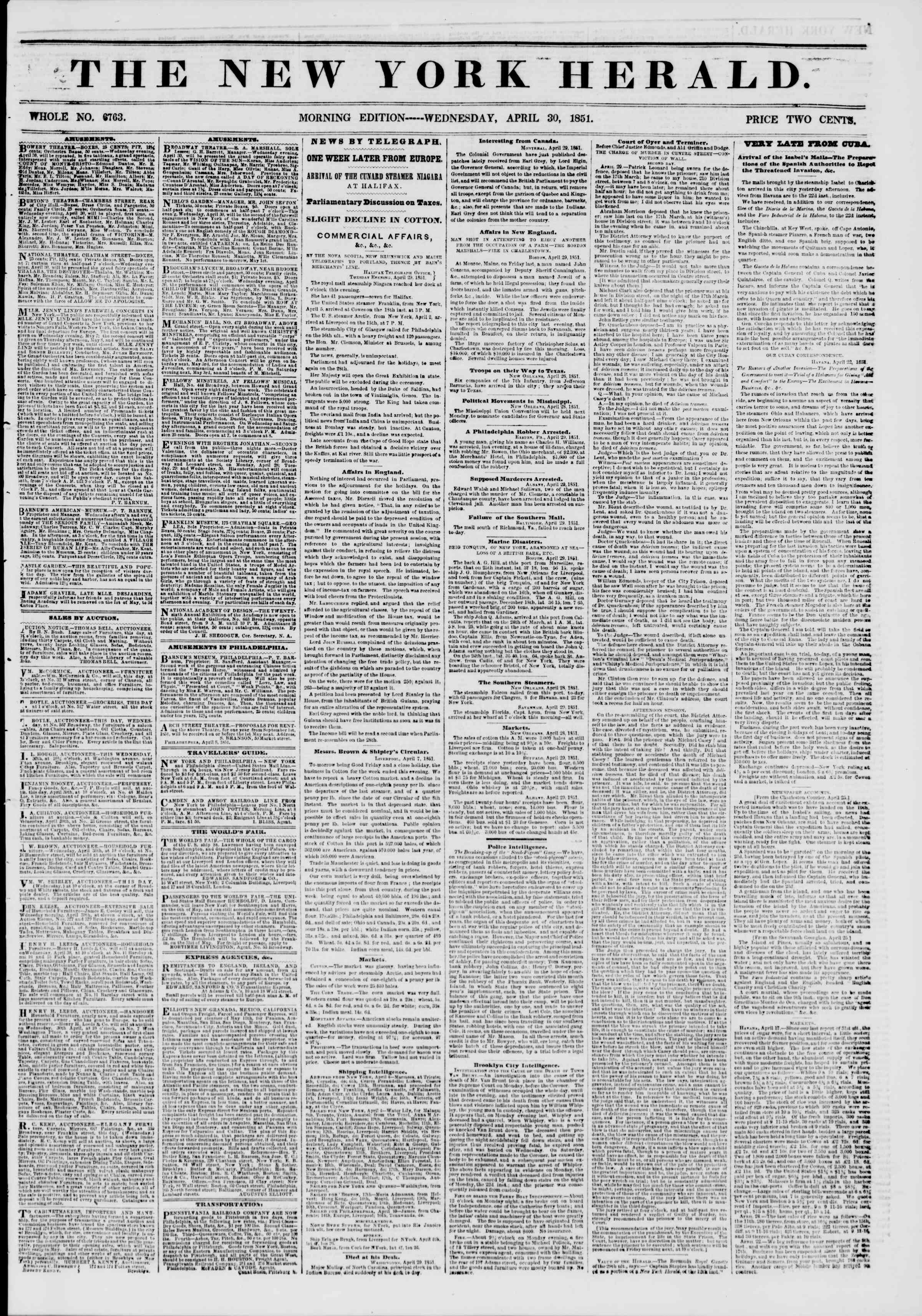 Newspaper of The New York Herald dated 30 Nisan 1851 Page 1