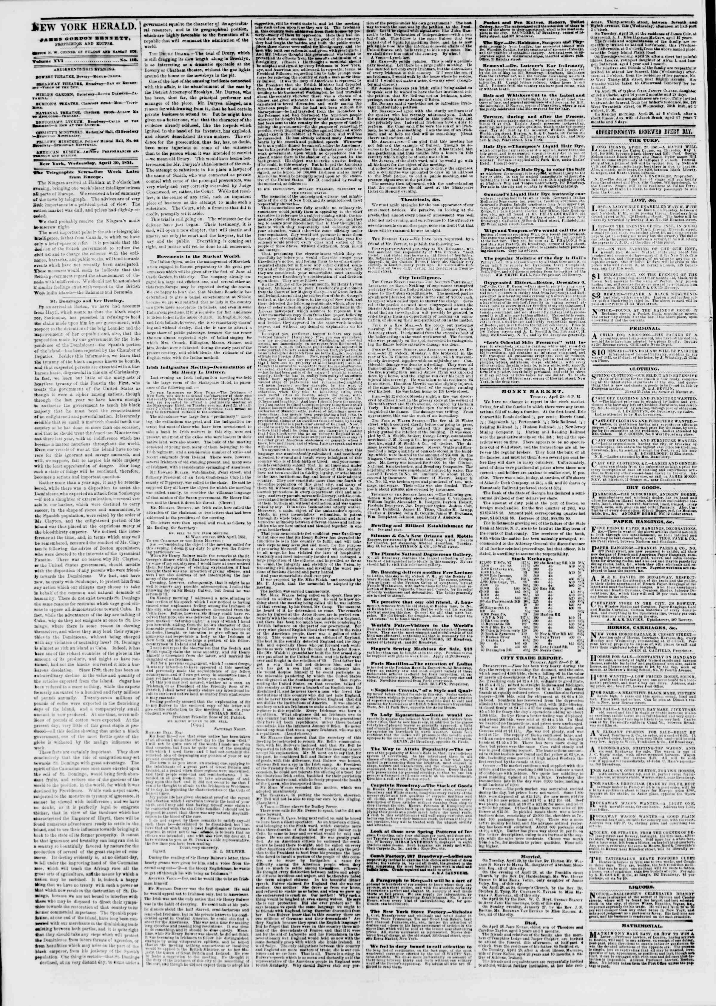 Newspaper of The New York Herald dated April 30, 1851 Page 2