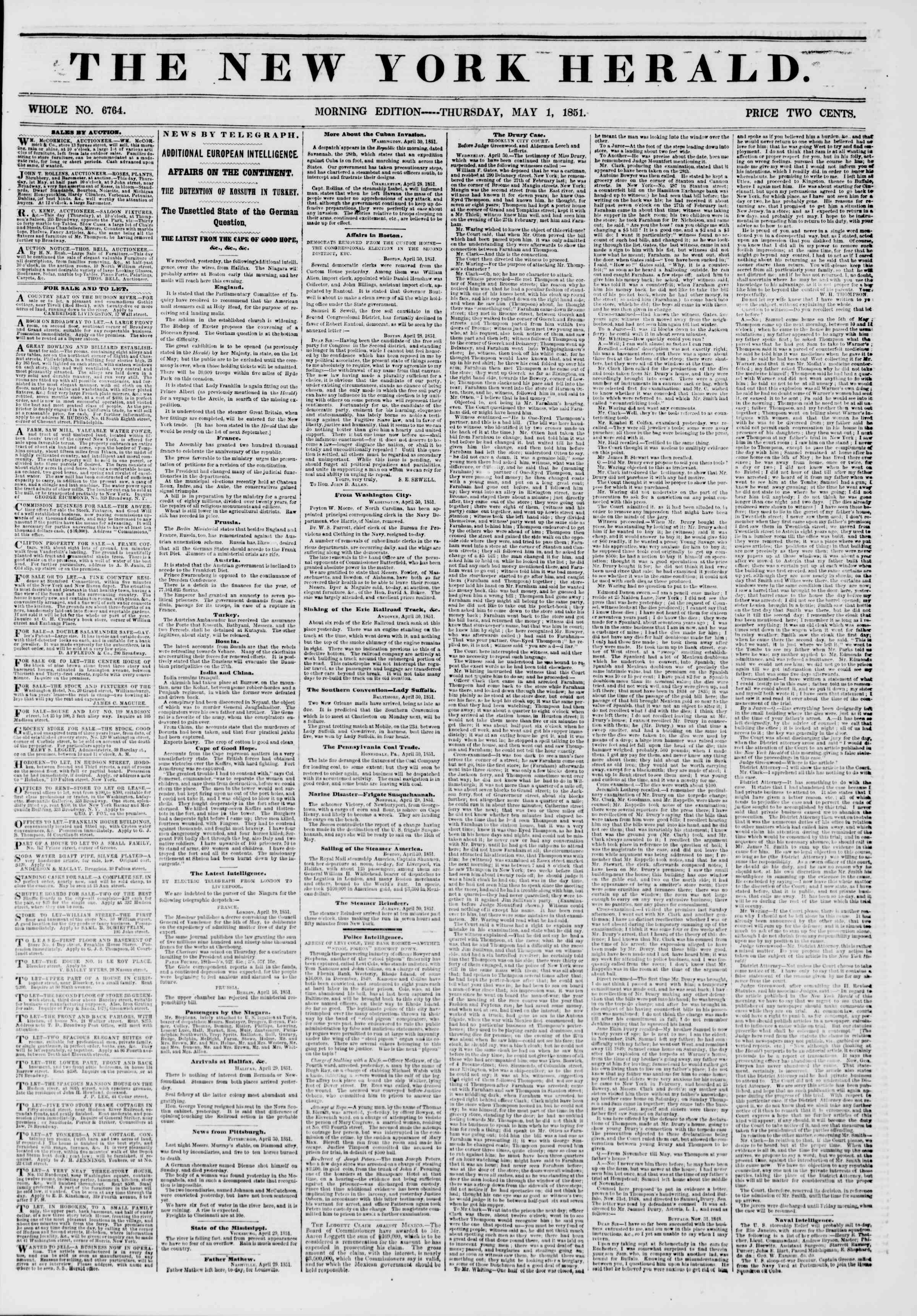 Newspaper of The New York Herald dated May 1, 1851 Page 1