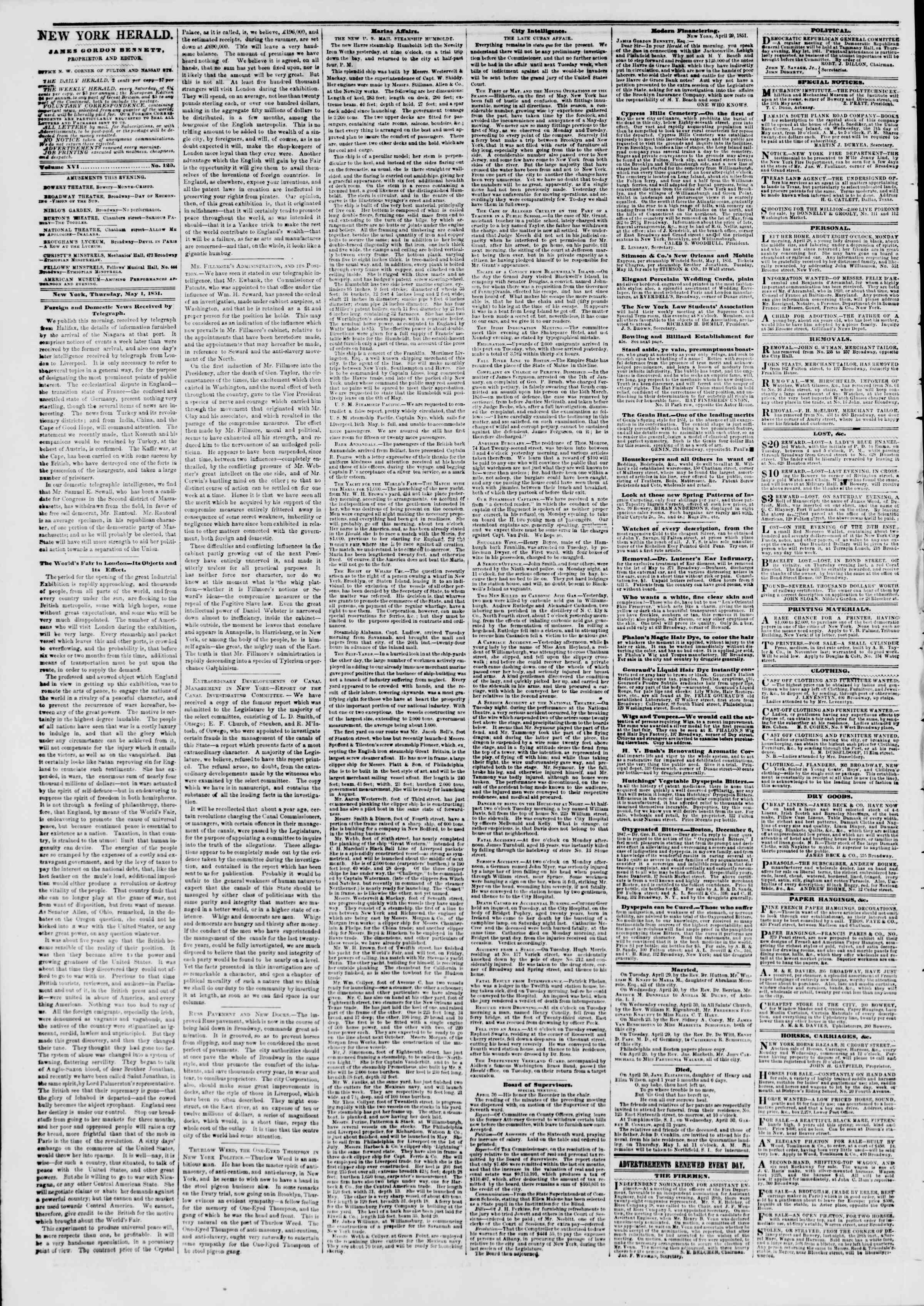 Newspaper of The New York Herald dated May 1, 1851 Page 2