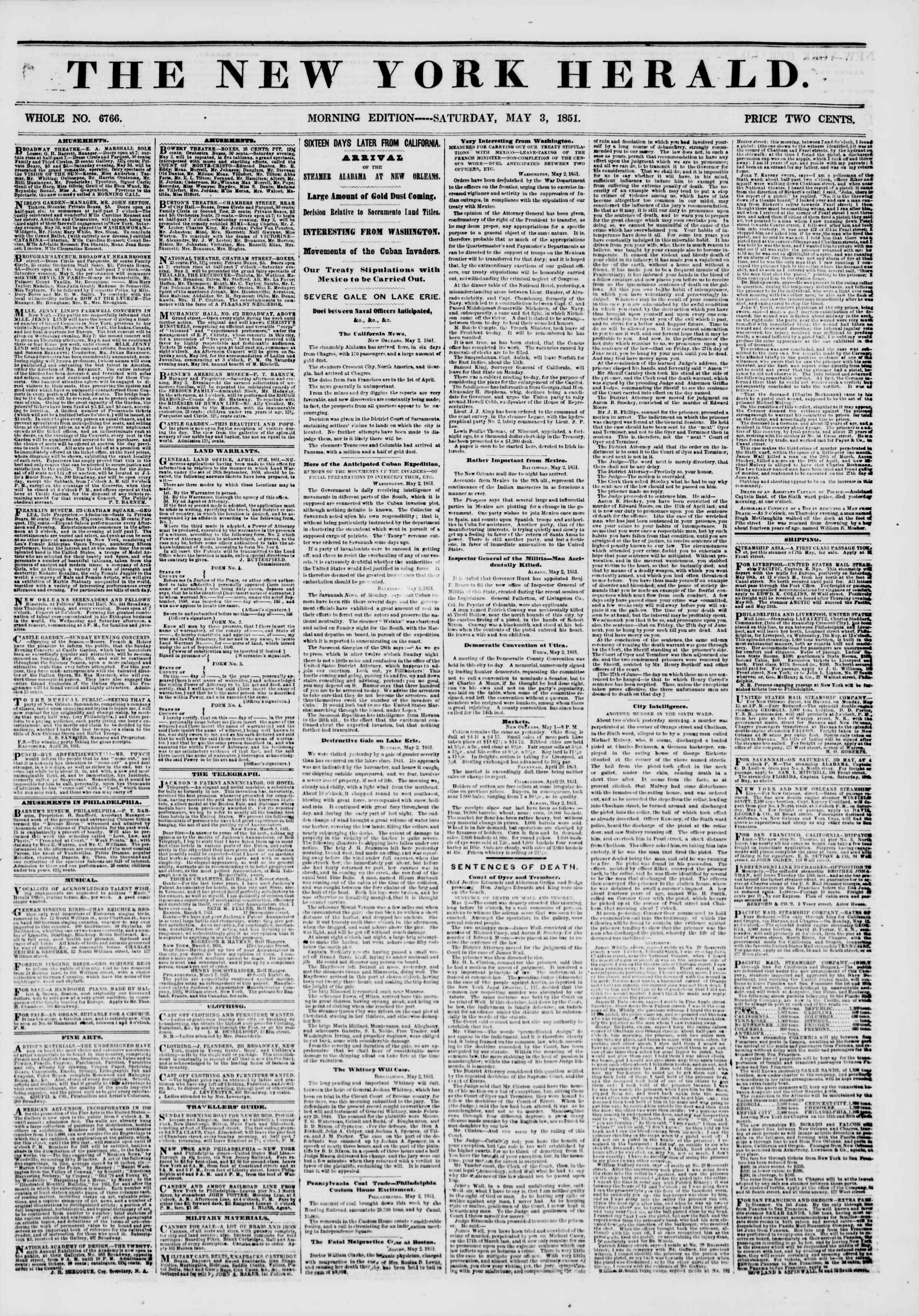 Newspaper of The New York Herald dated May 3, 1851 Page 1