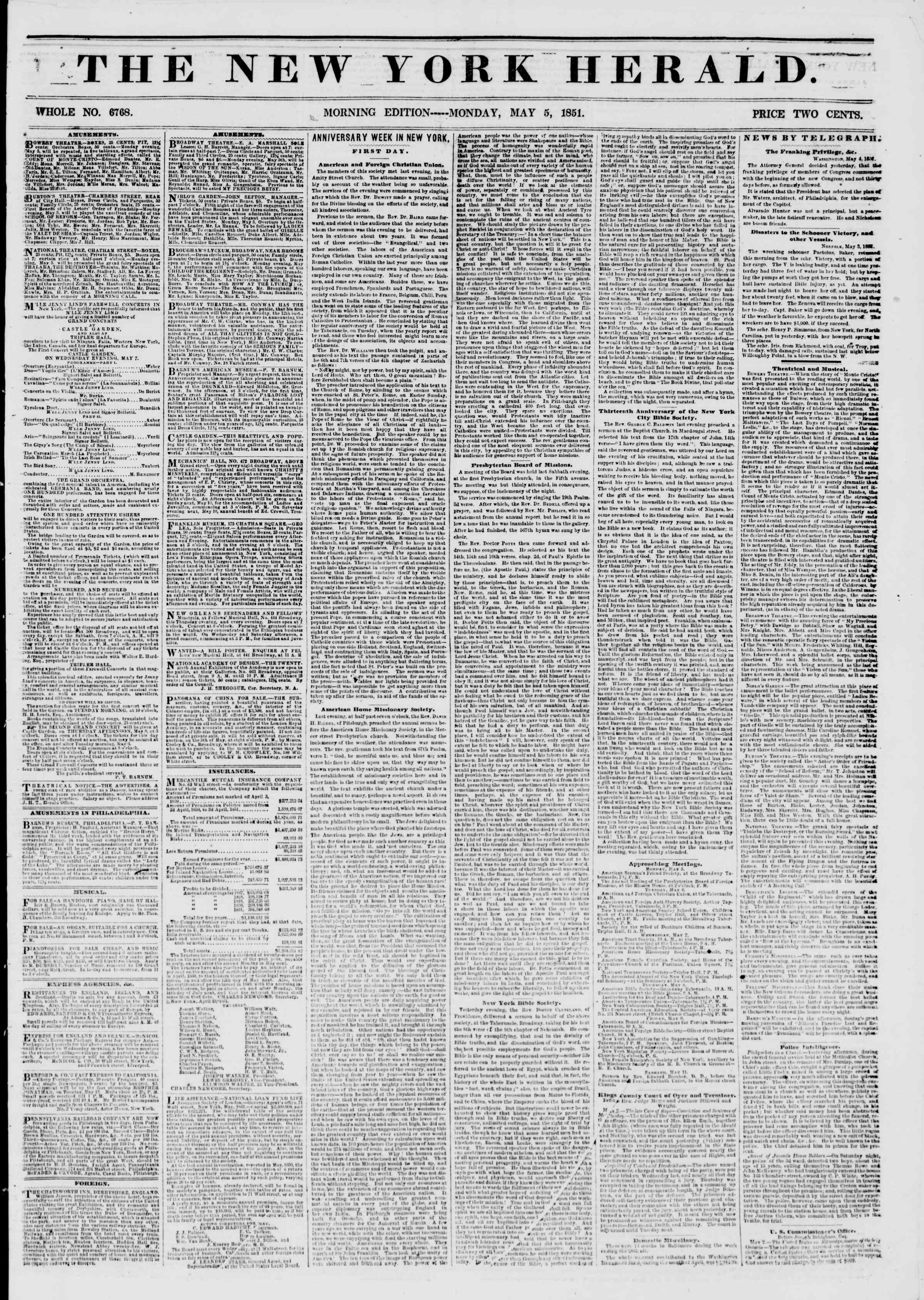 Newspaper of The New York Herald dated May 5, 1851 Page 1