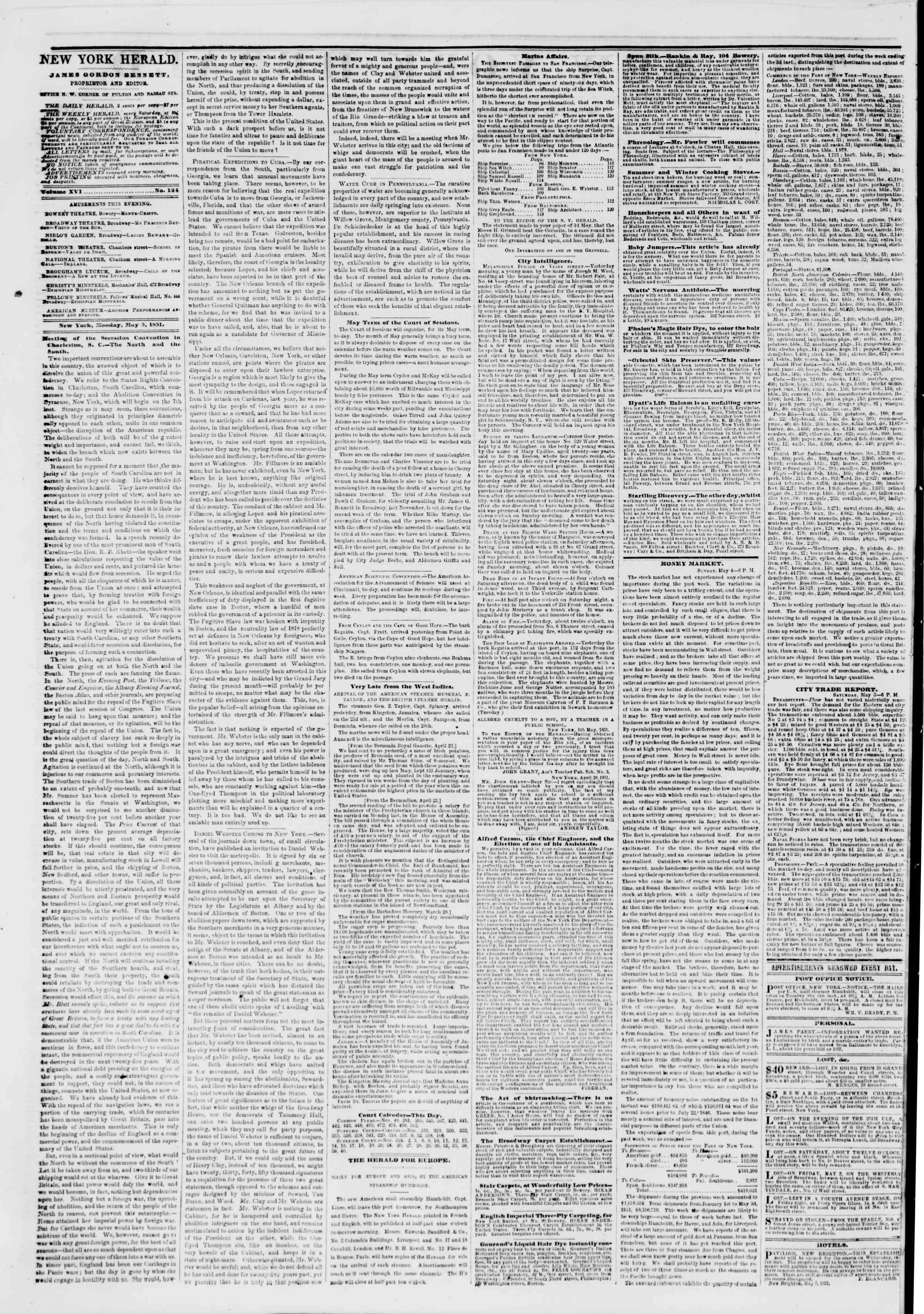 Newspaper of The New York Herald dated May 5, 1851 Page 2