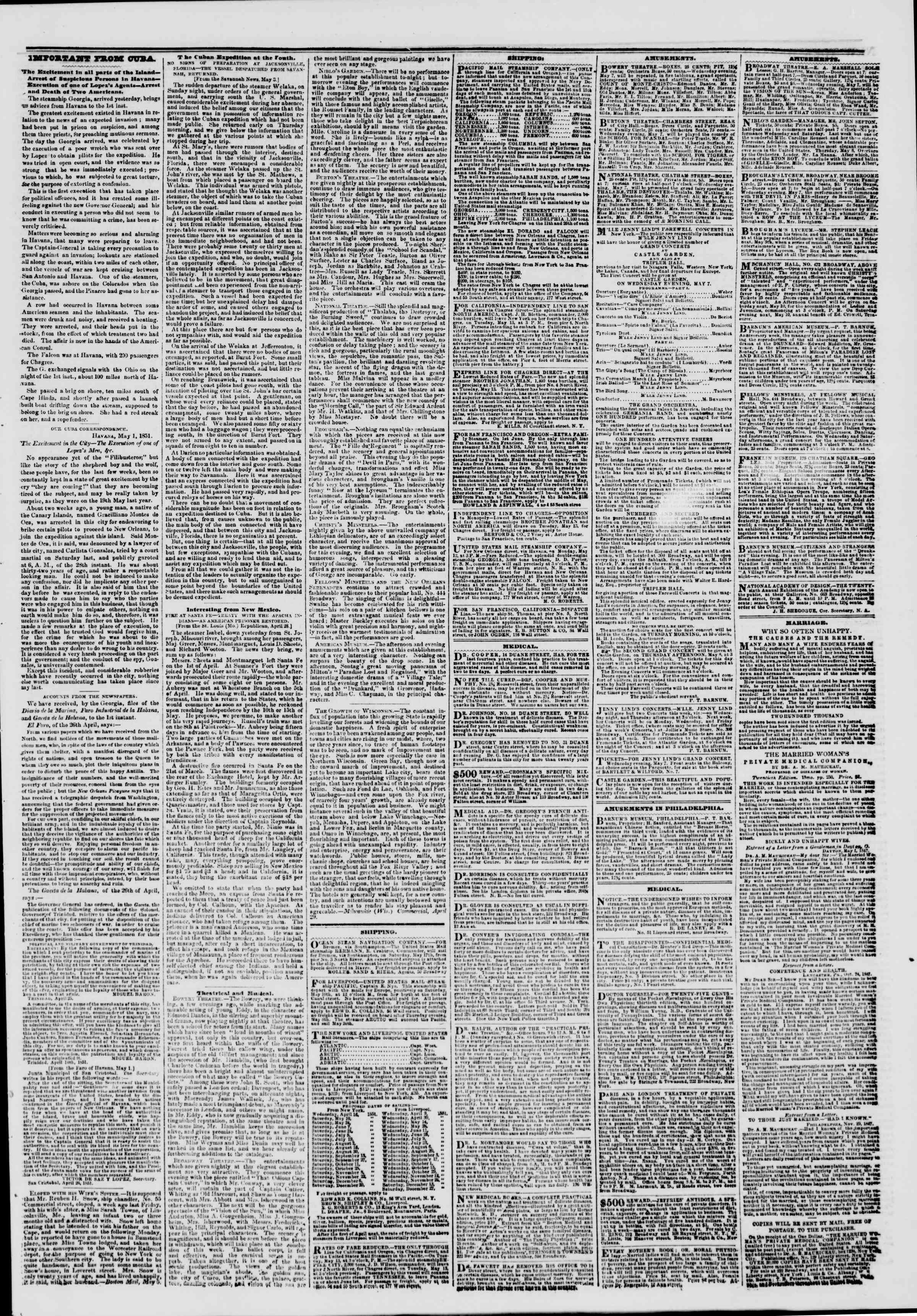 Newspaper of The New York Herald dated May 7, 1851 Page 3