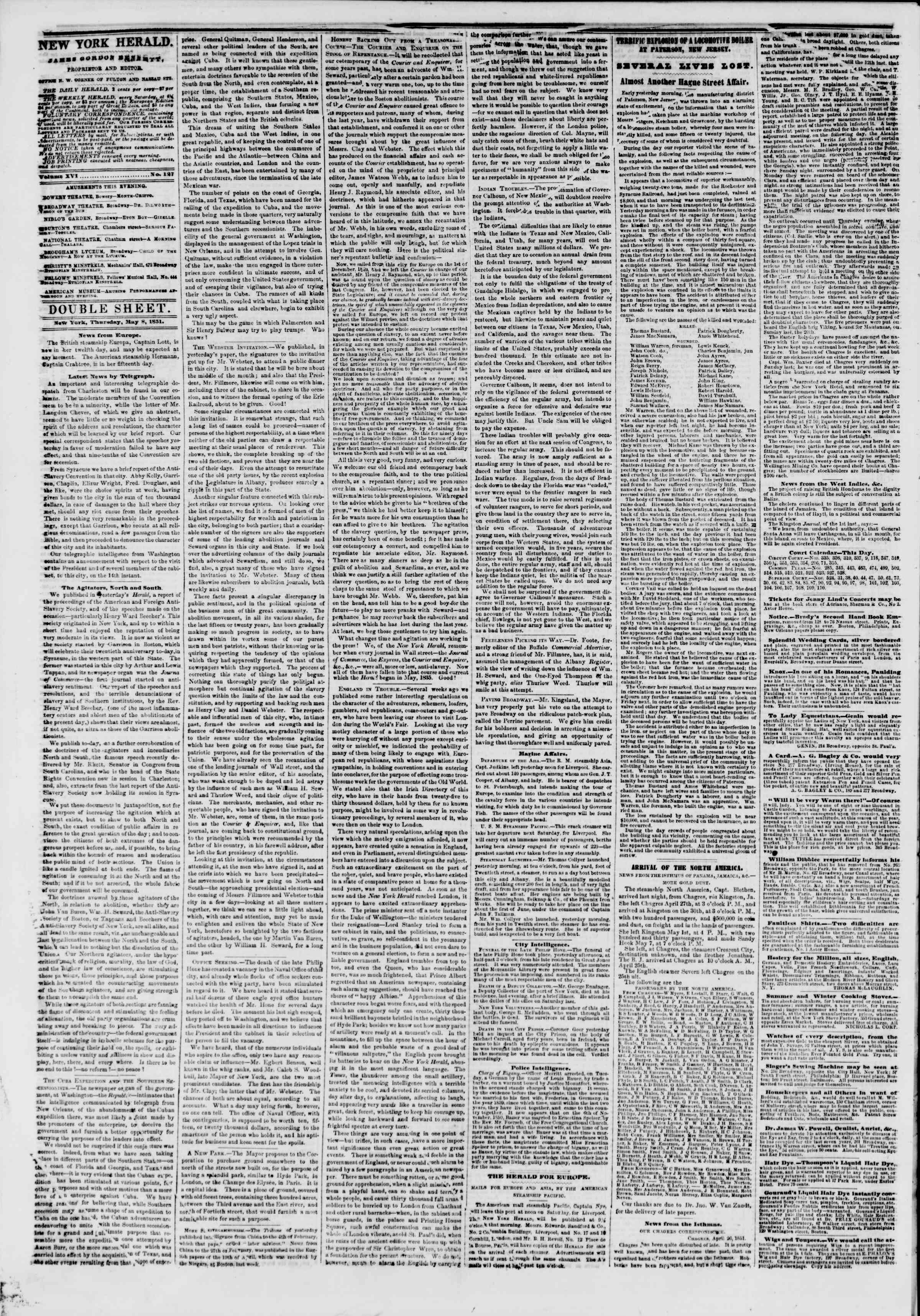 Newspaper of The New York Herald dated May 8, 1851 Page 4
