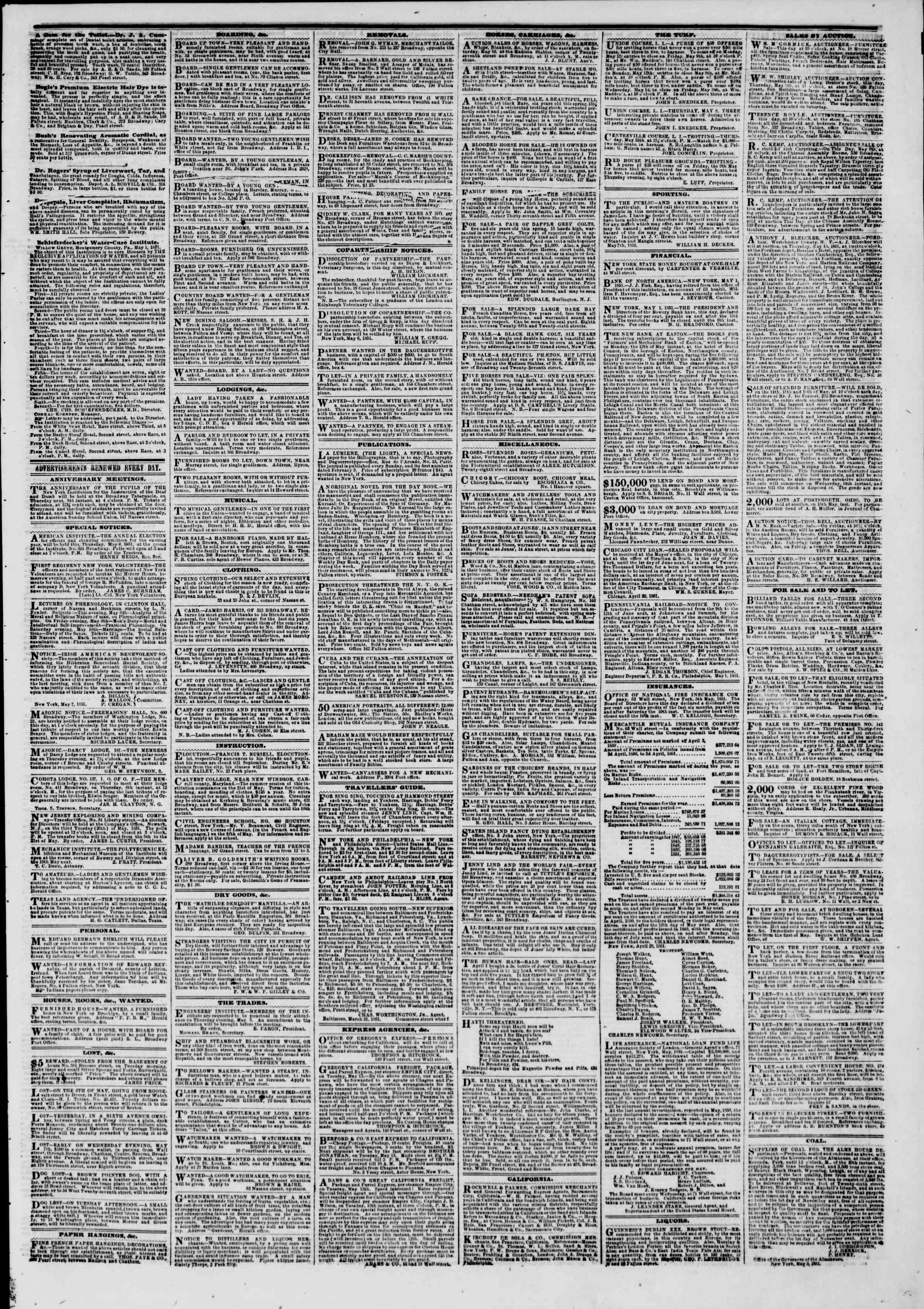 Newspaper of The New York Herald dated May 8, 1851 Page 5