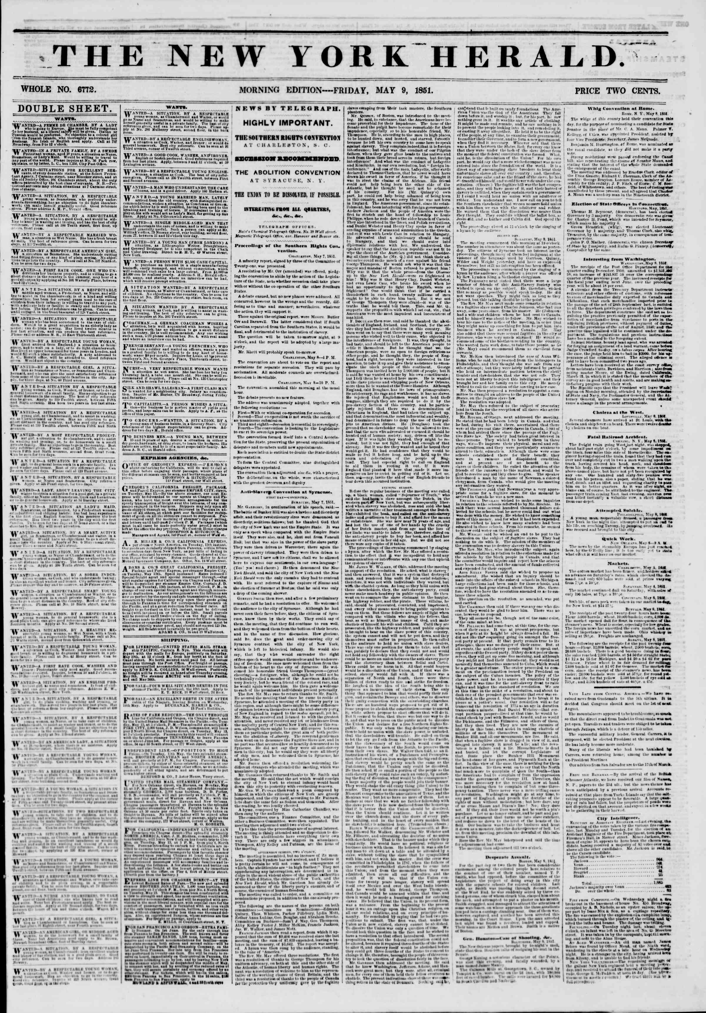 Newspaper of The New York Herald dated May 9, 1851 Page 1