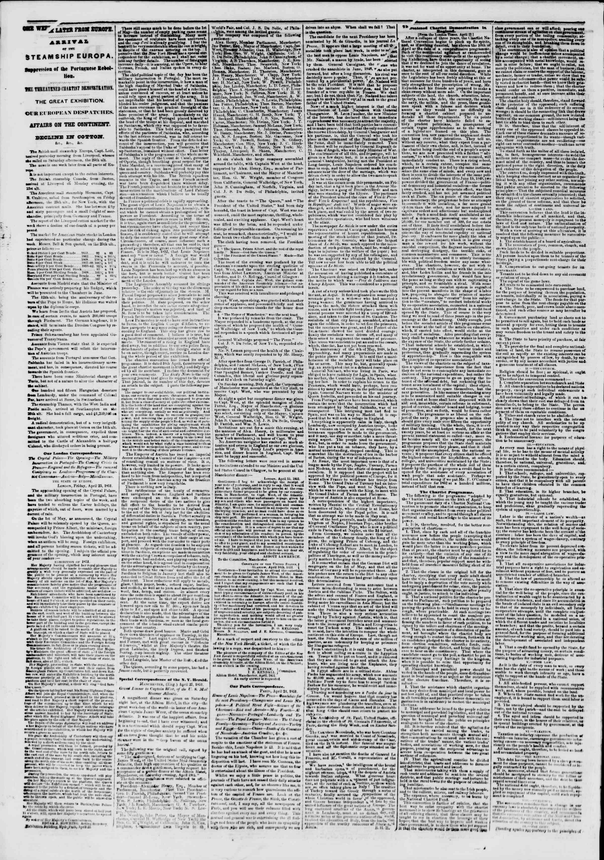 Newspaper of The New York Herald dated May 9, 1851 Page 2