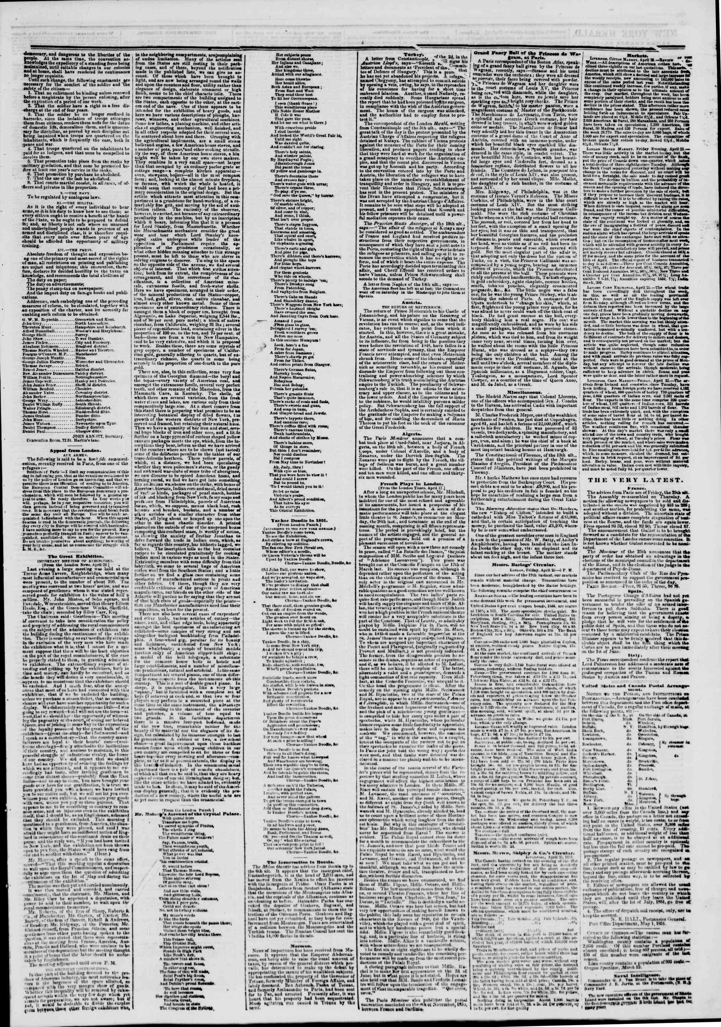 Newspaper of The New York Herald dated May 9, 1851 Page 3